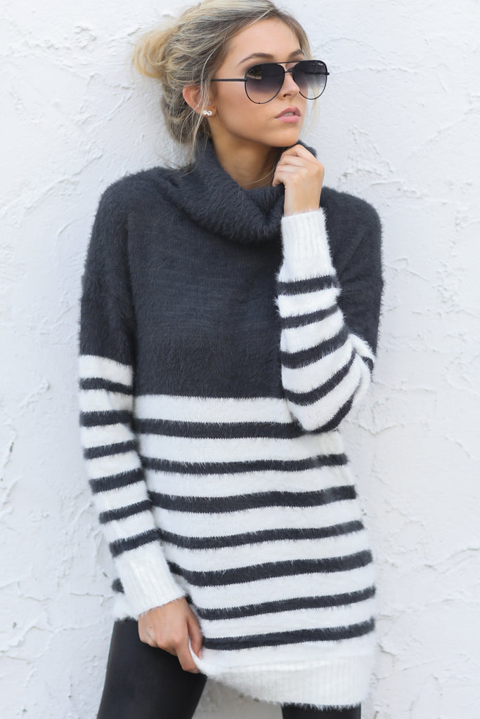 1 Anticipating Fall Grey Striped Sweater at reddress.com