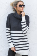 11 Keep Your Cool Charcoal Grey Stripe Sweater at reddressboutique.com