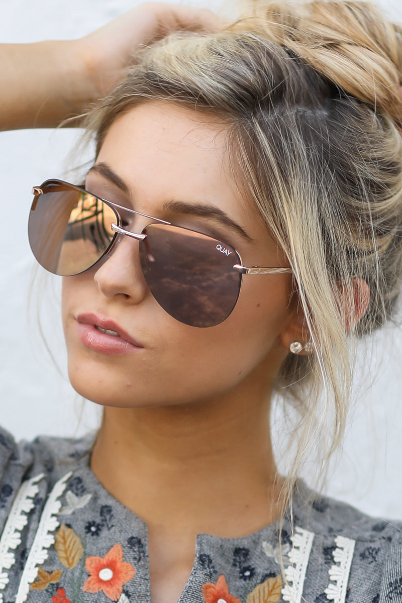 3 Playa Gold Pink Sunglasses at reddressboutique.com