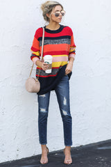 2 Get It Going Red Multi Sweater at reddress.com