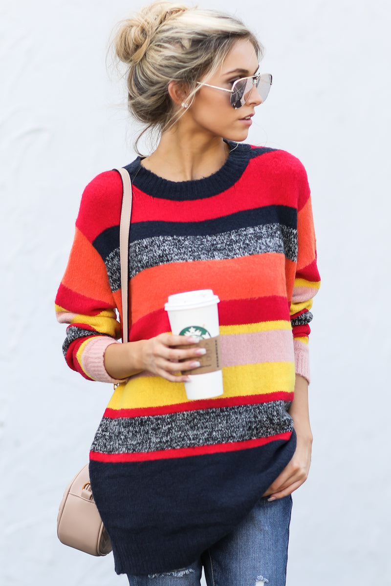 11 Get It Going Red Multi Sweater at reddressboutique.com