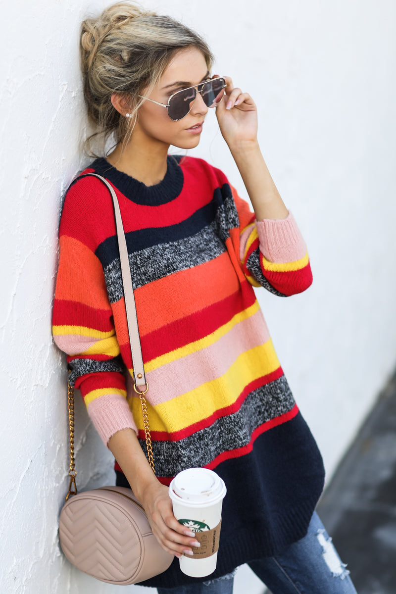 1 Get It Going Red Multi Sweater at reddress.com