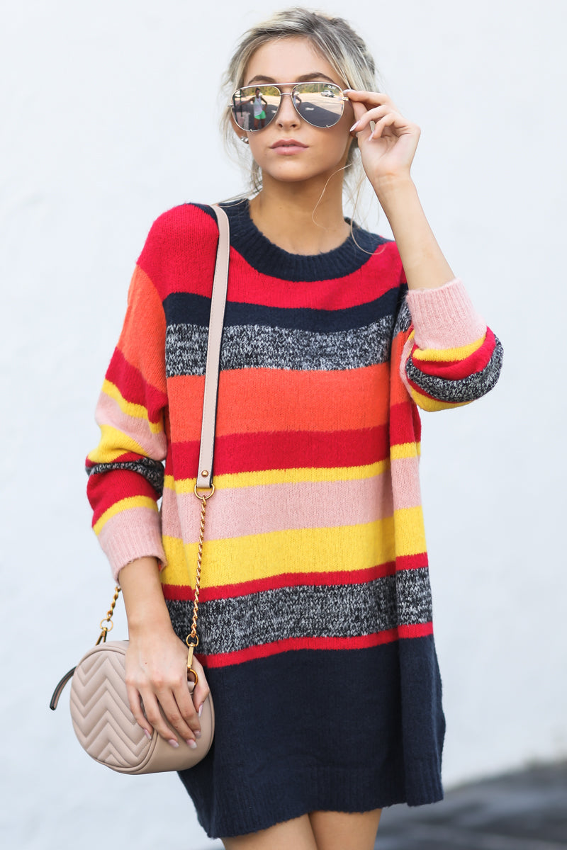 4 Get It Going Red Multi Sweater at reddress.com