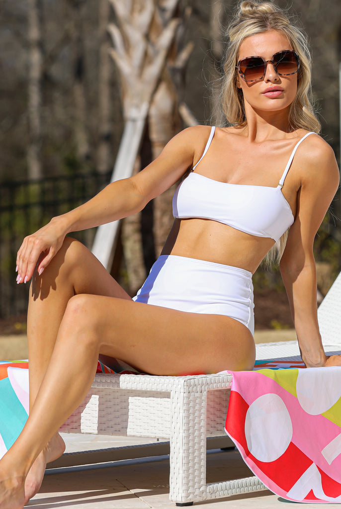 1 Catch The Tide White Bikini Top at reddress.com