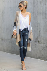 2 Cover The Basics Beige Multi Cardigan at reddressboutique.com