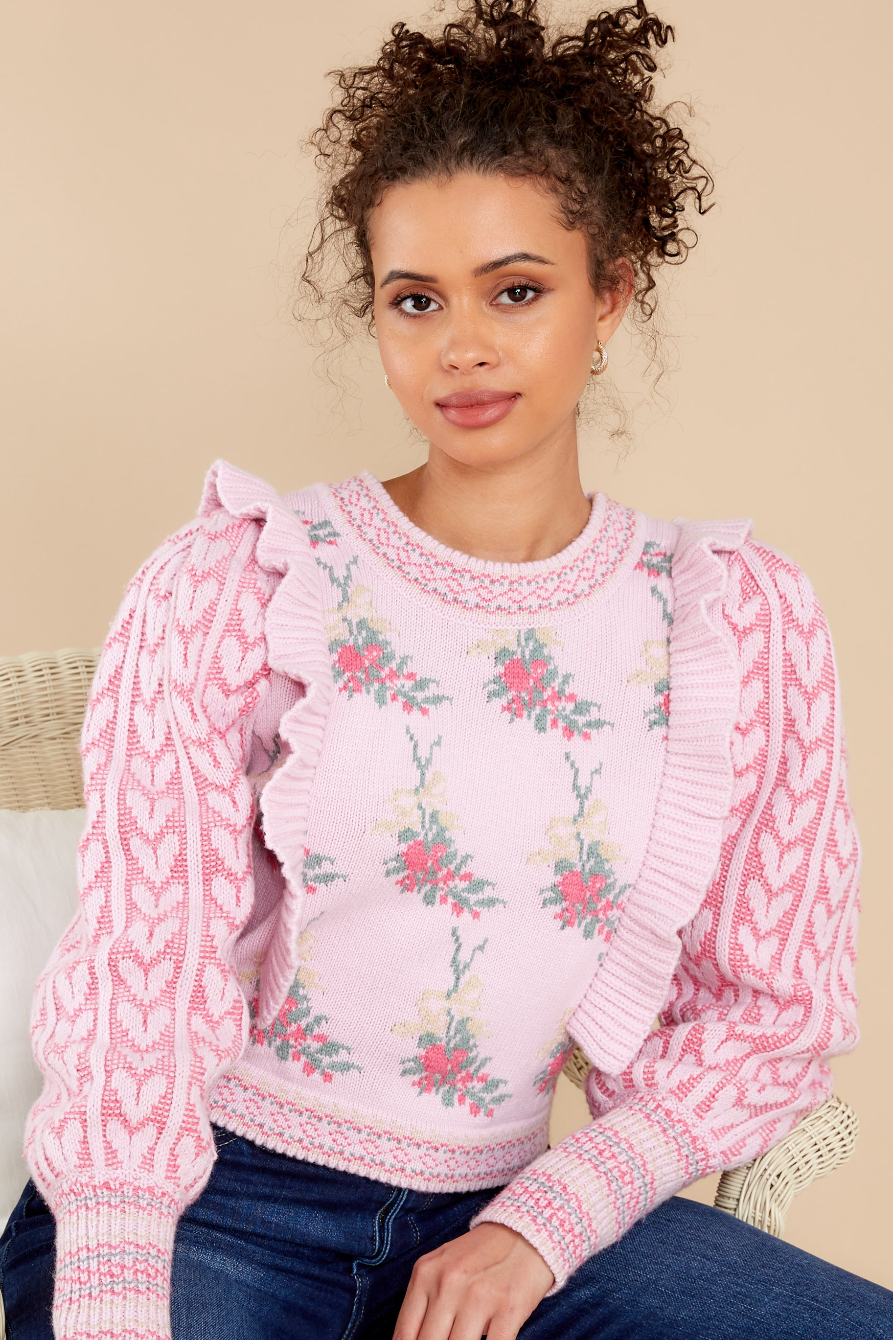 2 Warwick First Blush Pink Multi Pullover at reddress.com