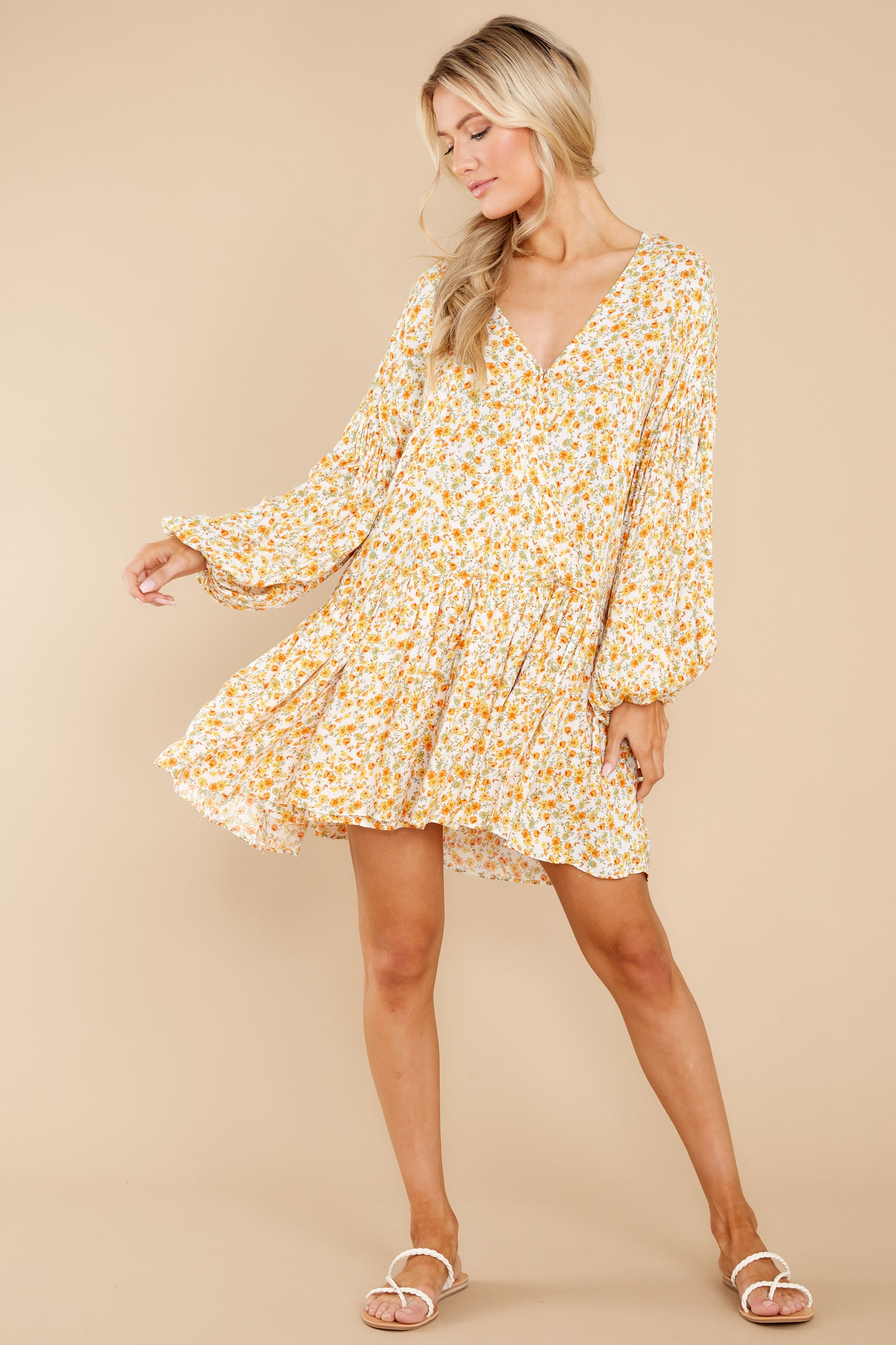 2 Far Away Places Yellow And Orange Floral Print Dress at reddress.com