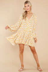3 Far Away Places Yellow And Orange Floral Print Dress at reddress.com