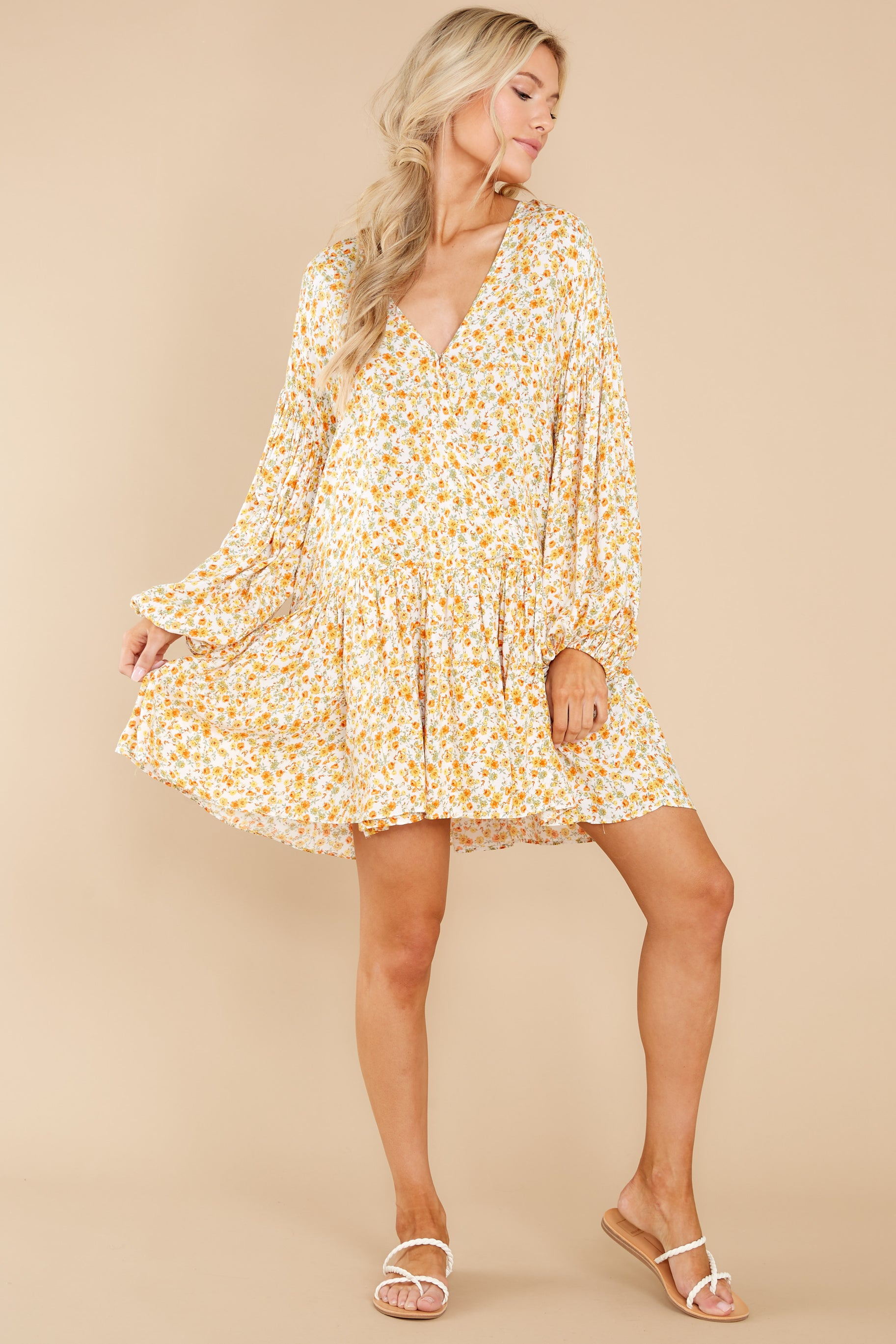 4 Far Away Places Yellow And Orange Floral Print Dress at reddress.com