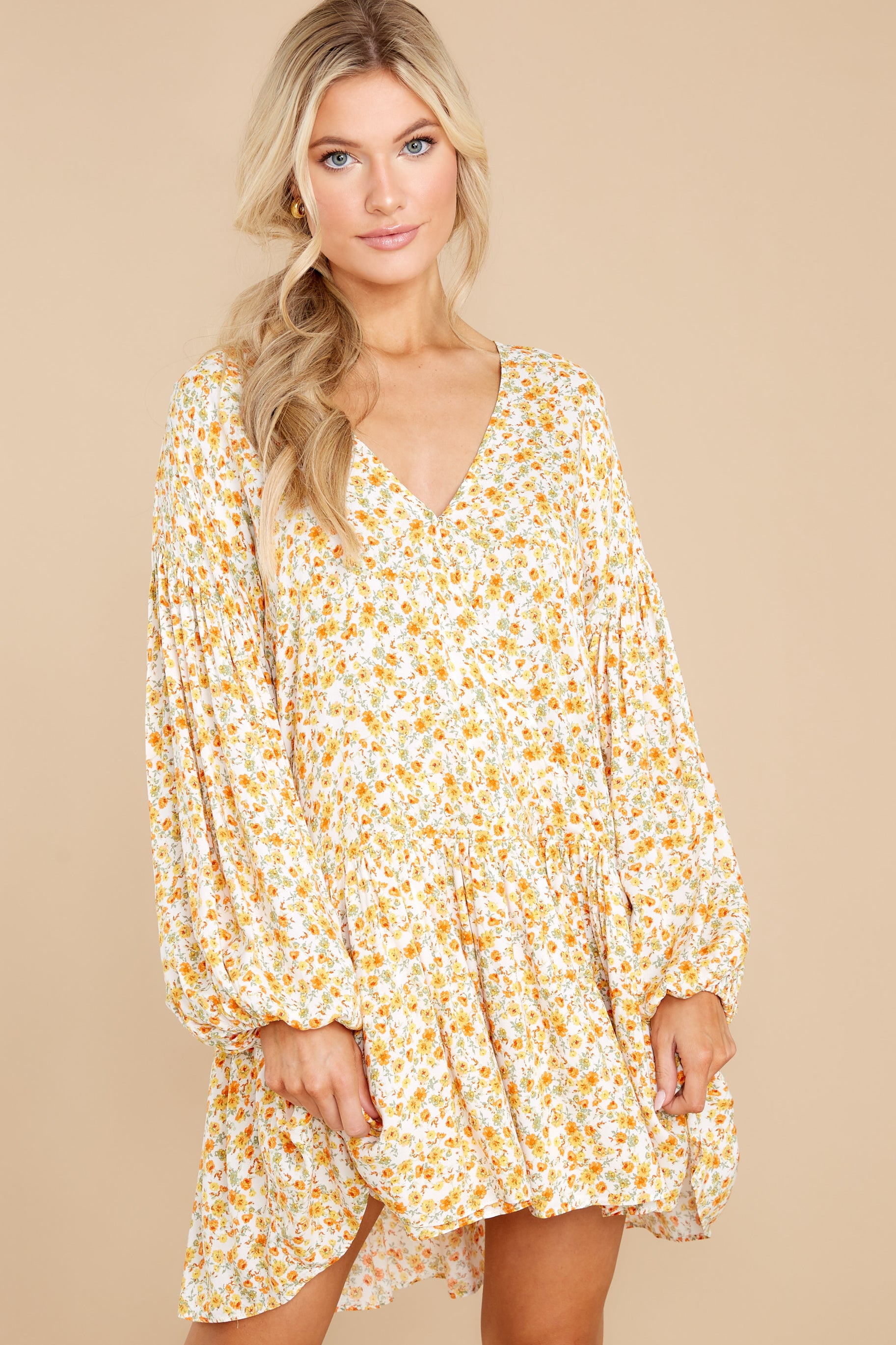 6 Far Away Places Yellow And Orange Floral Print Dress at reddress.com