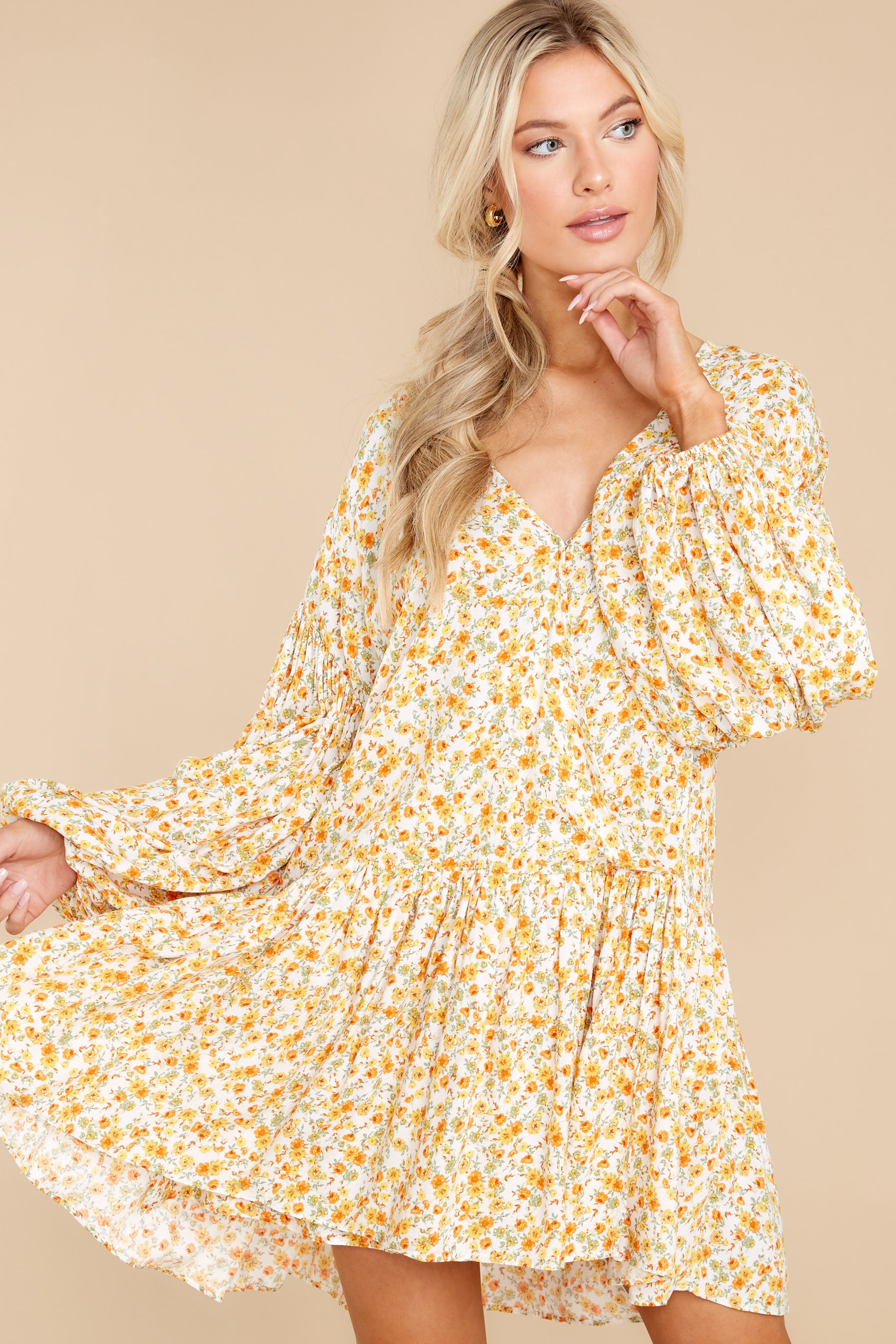 5 Far Away Places Yellow And Orange Floral Print Dress at reddress.com