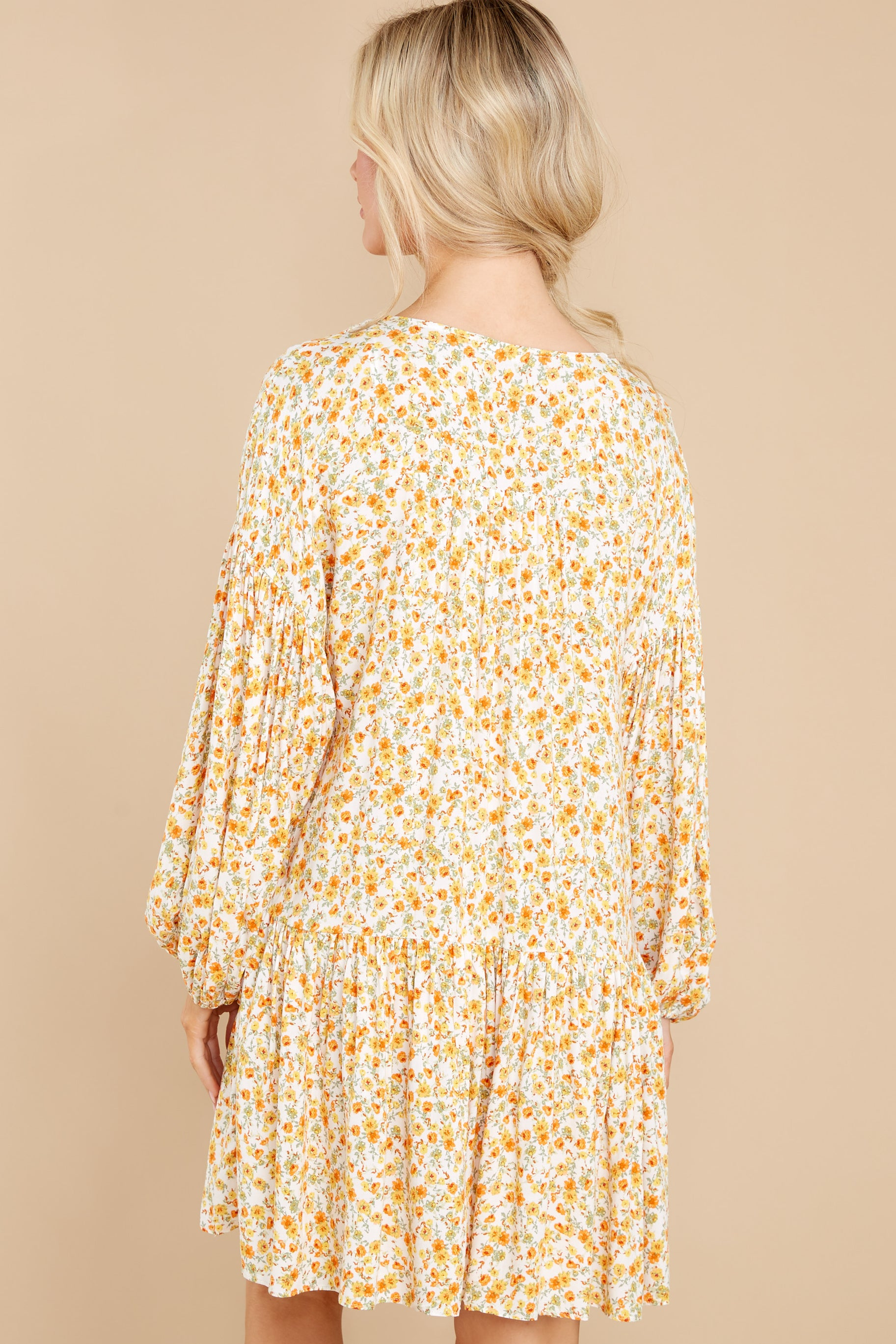 8 Far Away Places Yellow And Orange Floral Print Dress at reddress.com