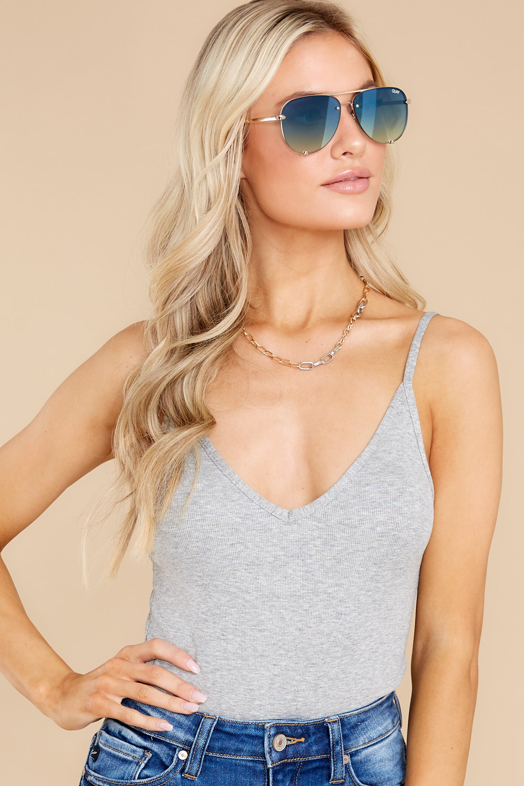 7 Everything's Changed Grey Bodysuit at Red Dress