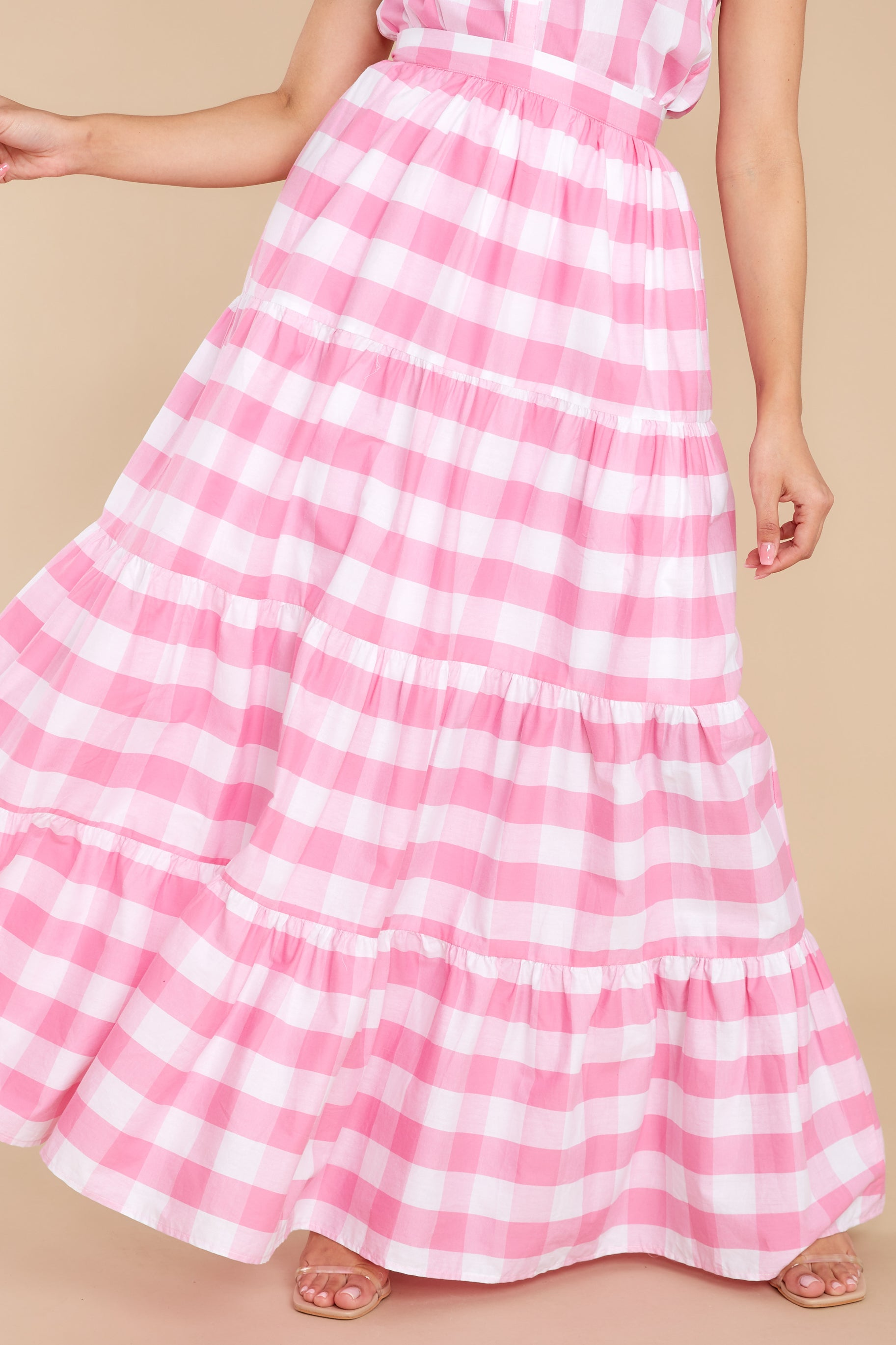 Vintage Skirts | Retro, Pencil, Swing, Boho Aura Too Much To Say Pink Gingham Skirt $48.00 AT vintagedancer.com