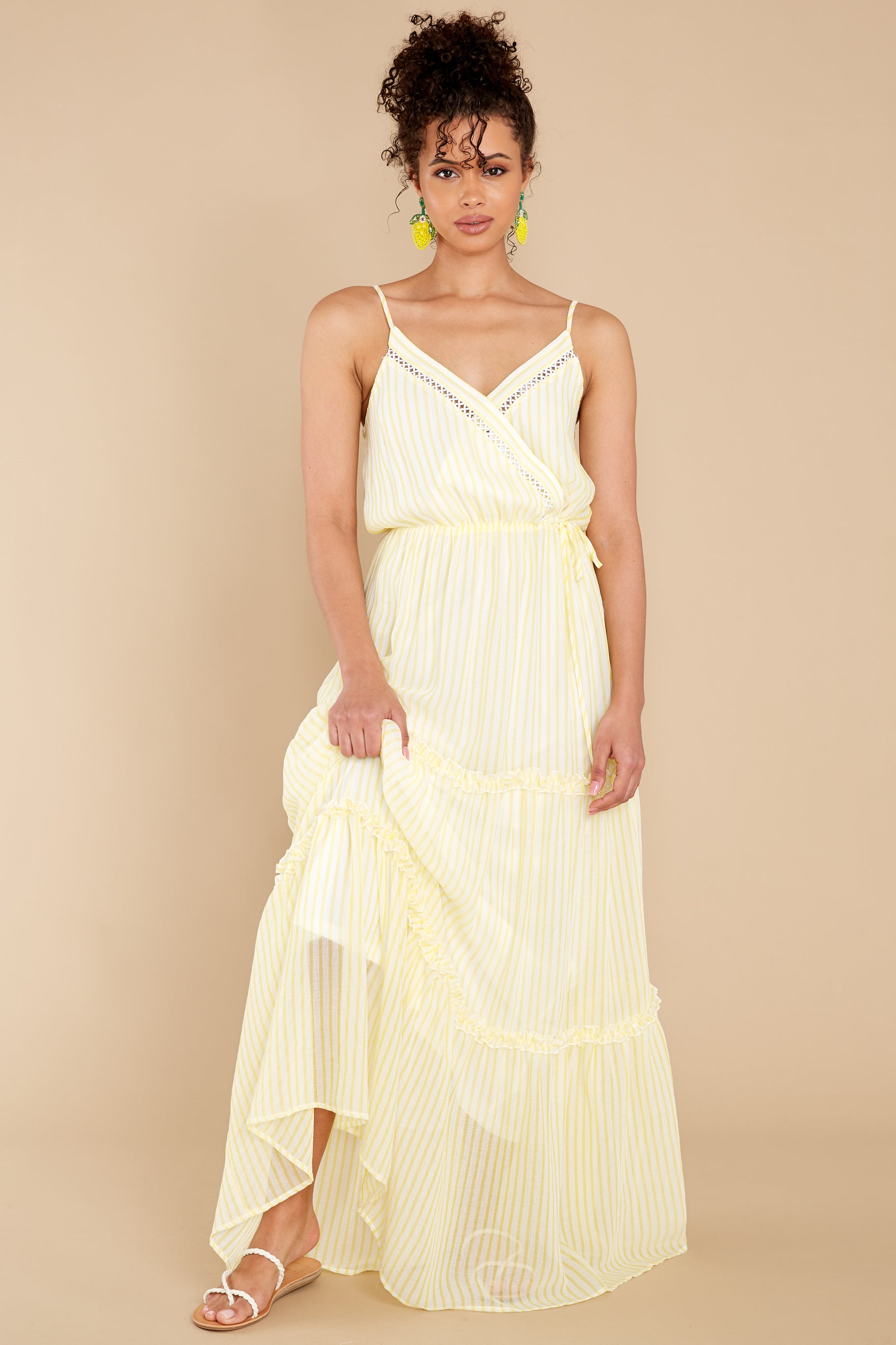 7 Living The Dream White And Yellow Stripe Maxi Dress at reddress.com