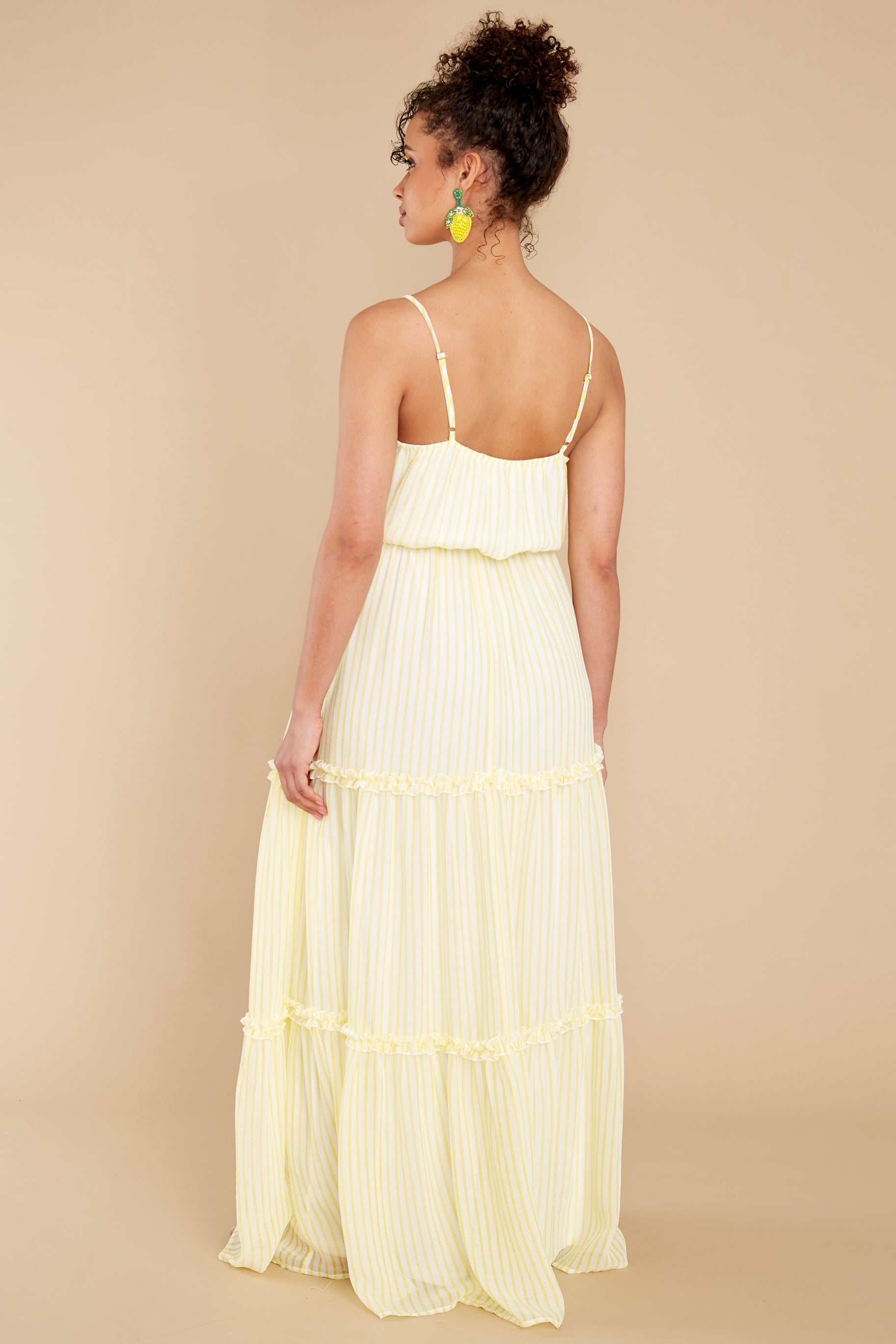 8 Living The Dream White And Yellow Stripe Maxi Dress at reddress.com