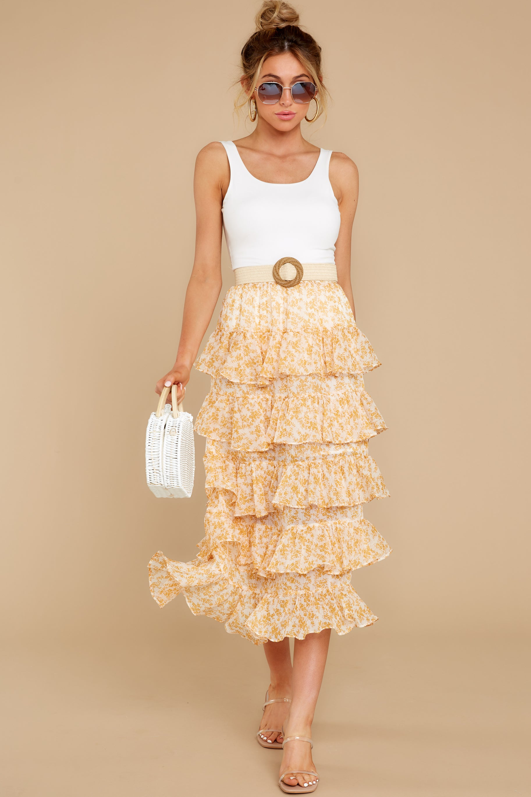 6 Lana Tiered Midi Skirt at reddress.com