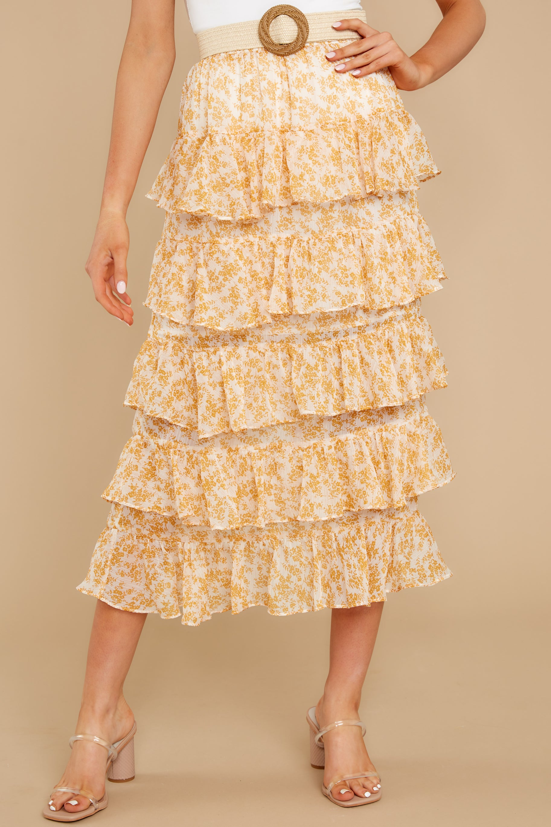 2 Lana Tiered Midi Skirt at reddress.com