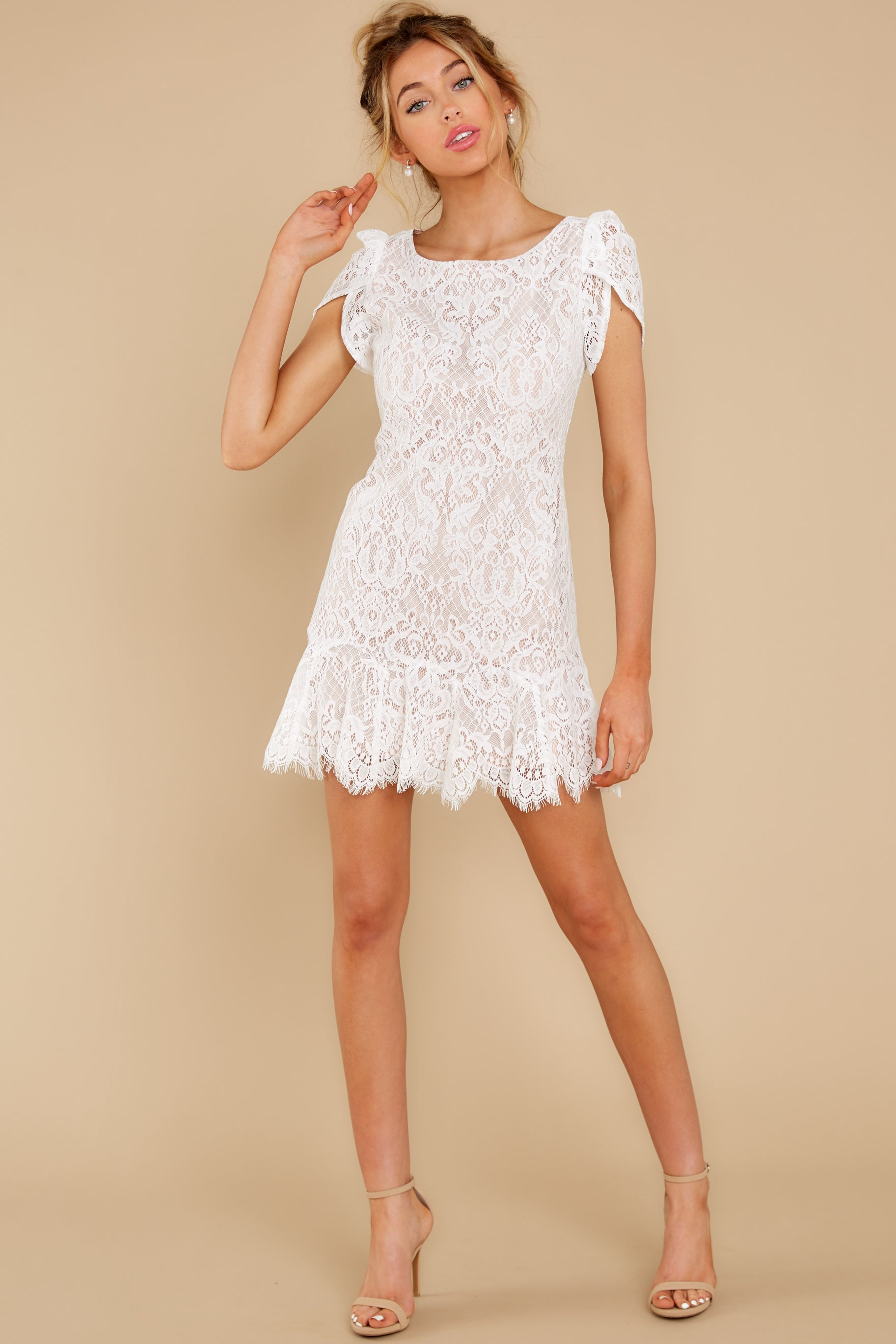 4 First Touch Ivory Lace Dress at reddress.com