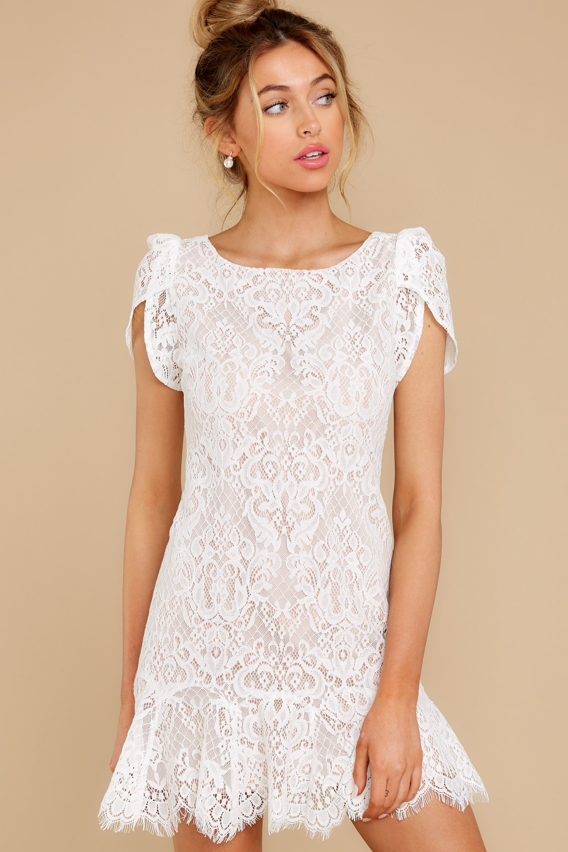 5 First Touch Ivory Lace Dress at reddress.com