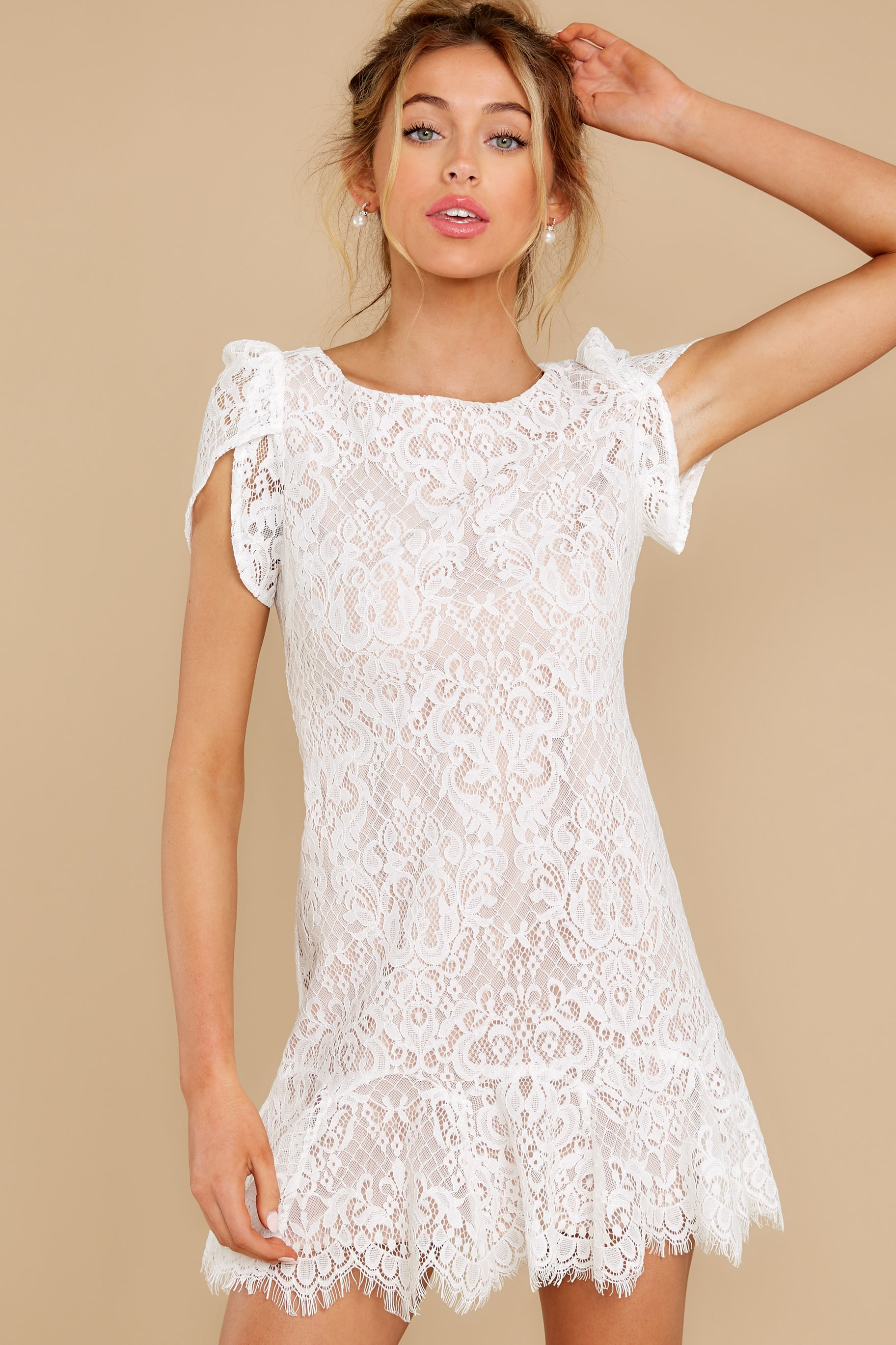 6 First Touch Ivory Lace Dress at reddress.com