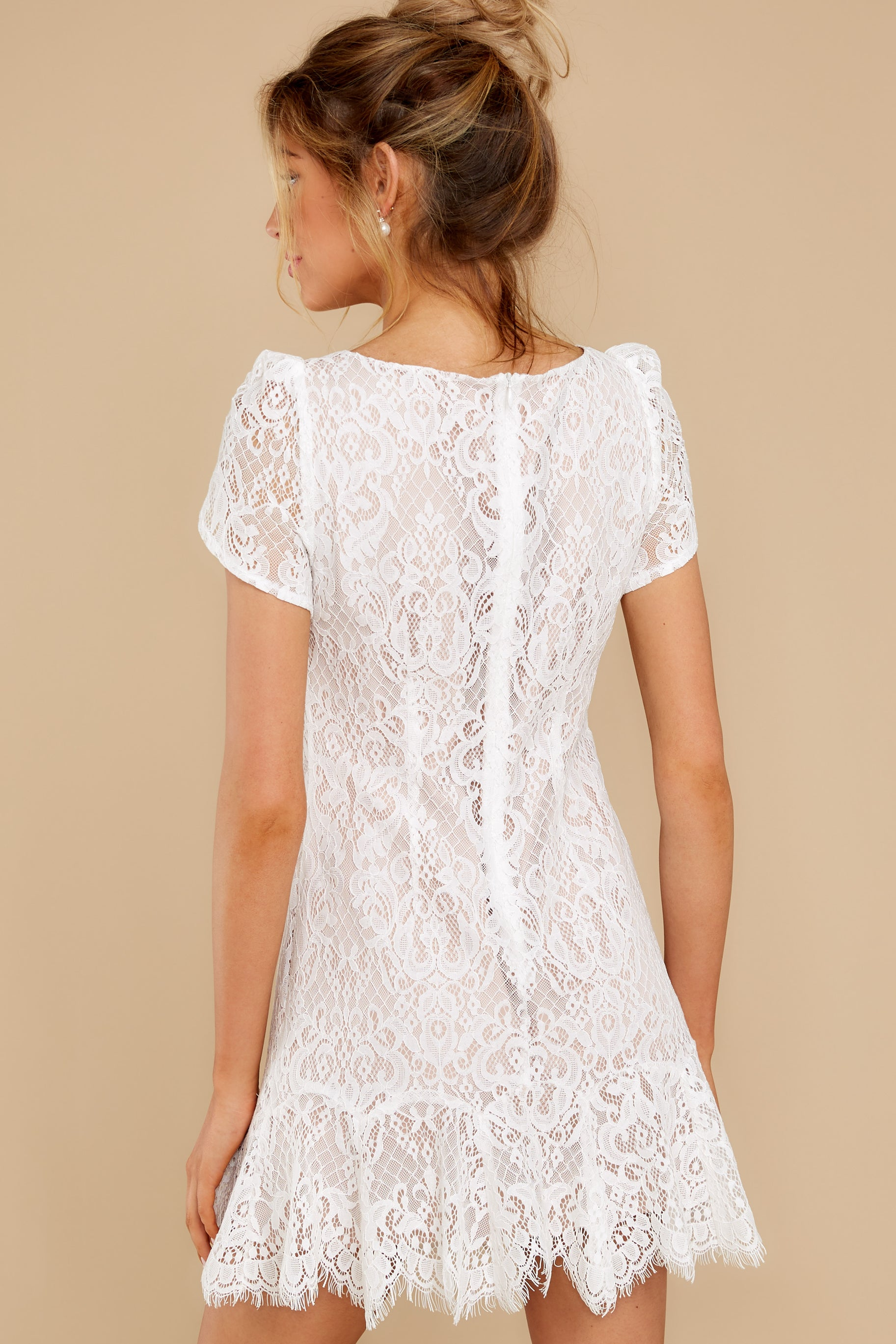 8 First Touch Ivory Lace Dress at reddress.com