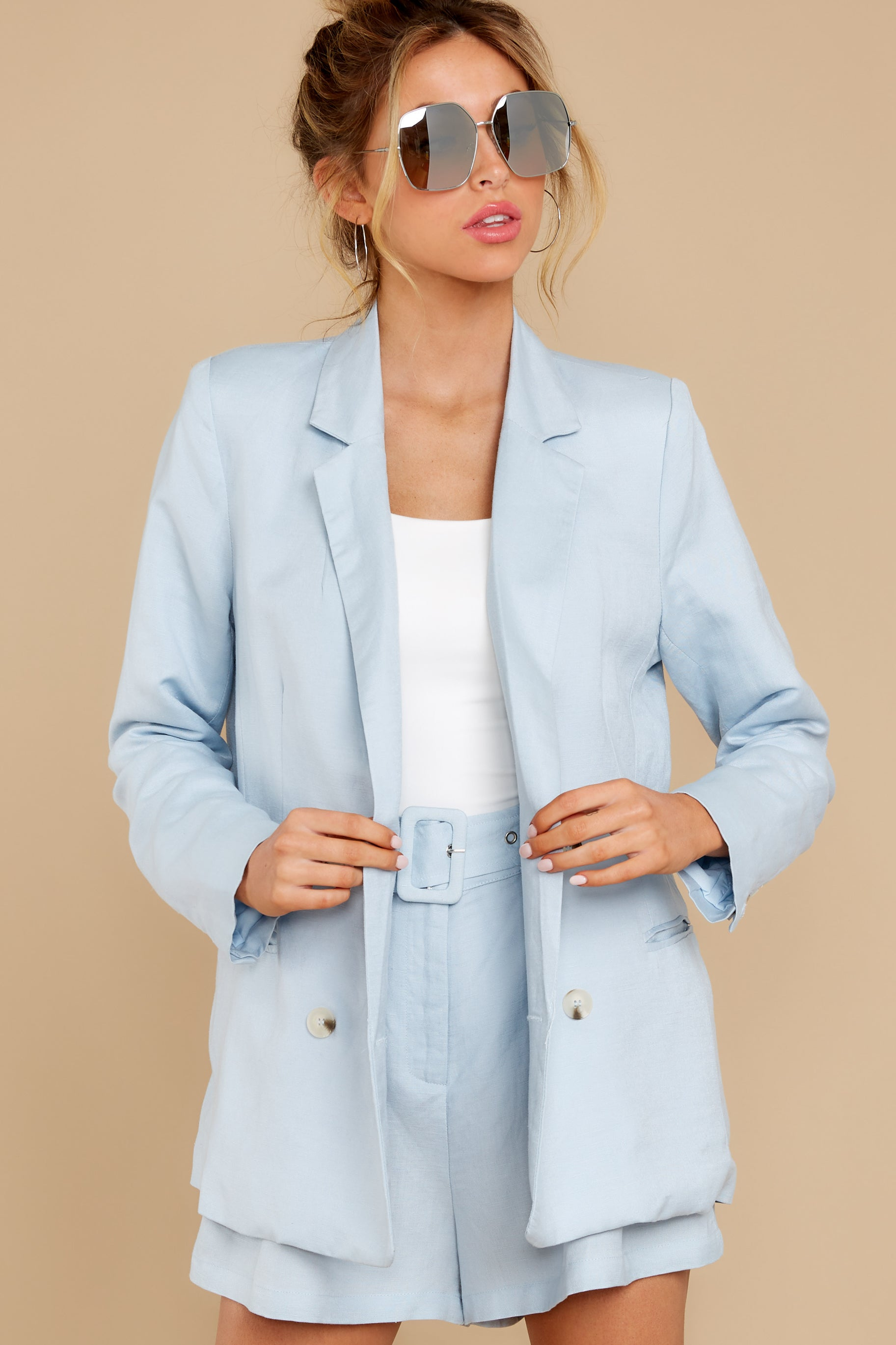 80s Windbreakers, Jackets, Coats California Jazz Light Blue Blazer $49.00 AT vintagedancer.com