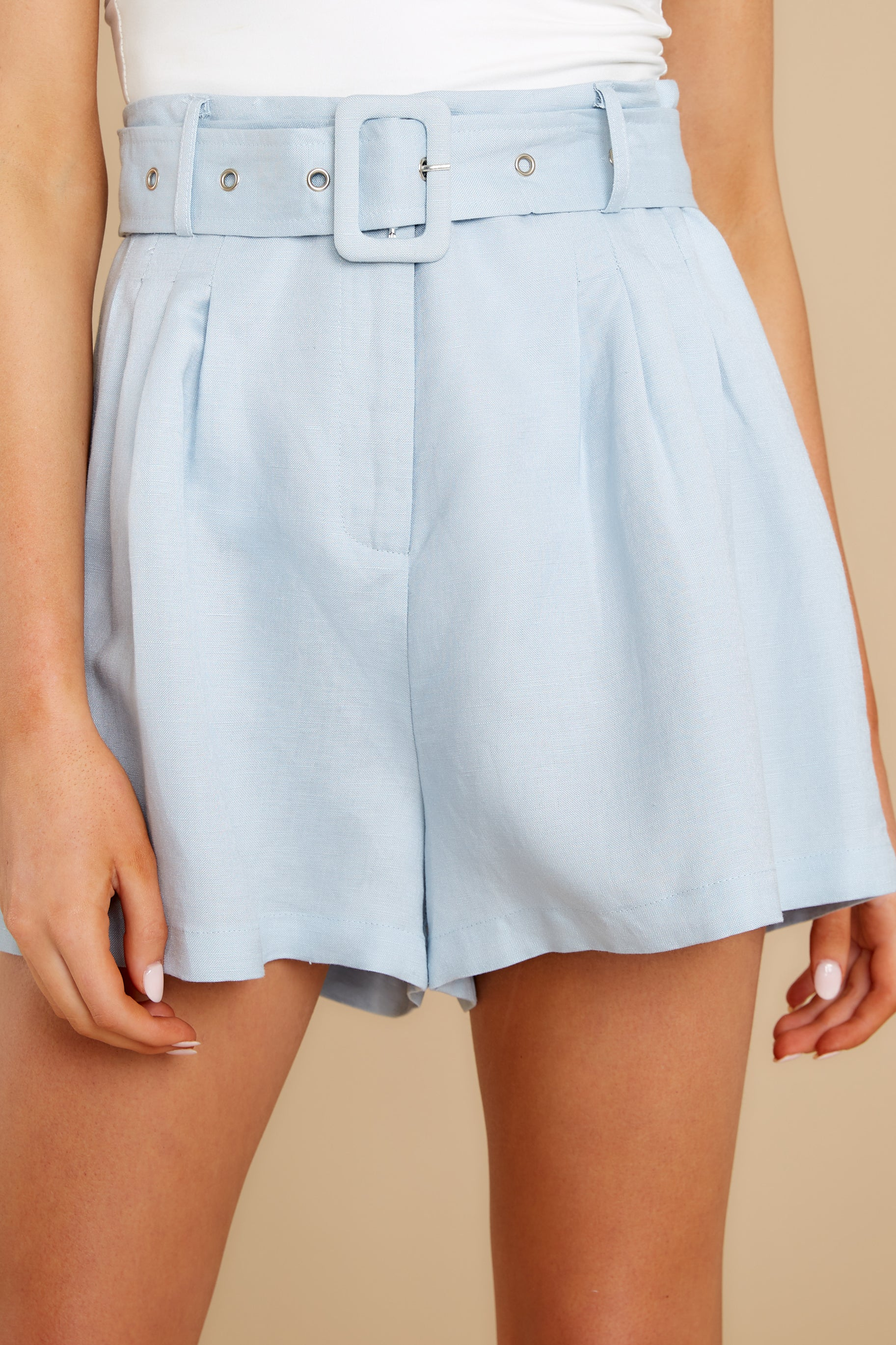 Vintage High Waisted Shorts, Sailor Shorts, Retro Shorts Its Your Fate Light Blue Shorts $48.00 AT vintagedancer.com