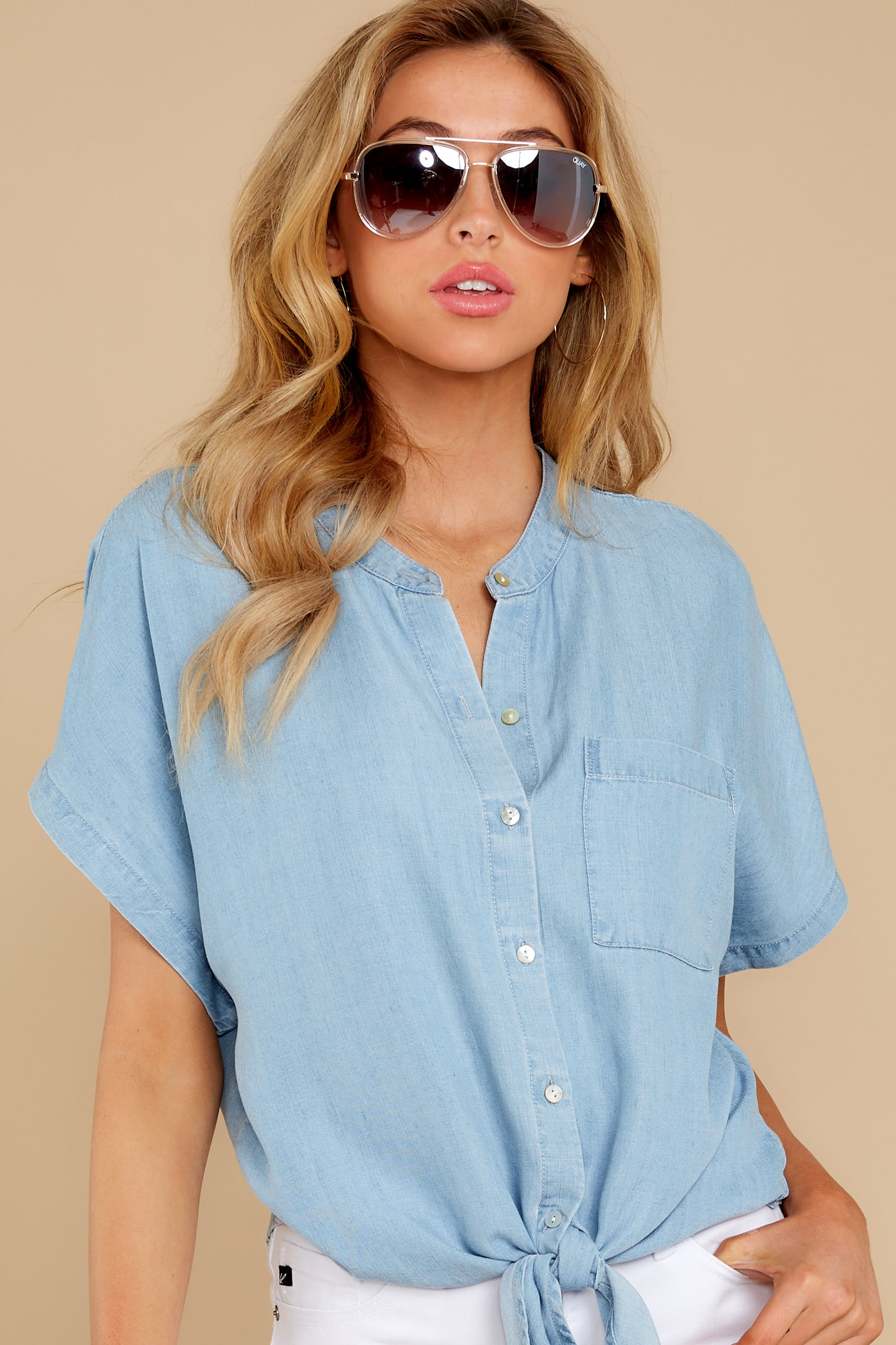 80s Tops, Shirts, T-shirts, Blouse Here We Go Again Chambray Tie Top Blue $46.00 AT vintagedancer.com