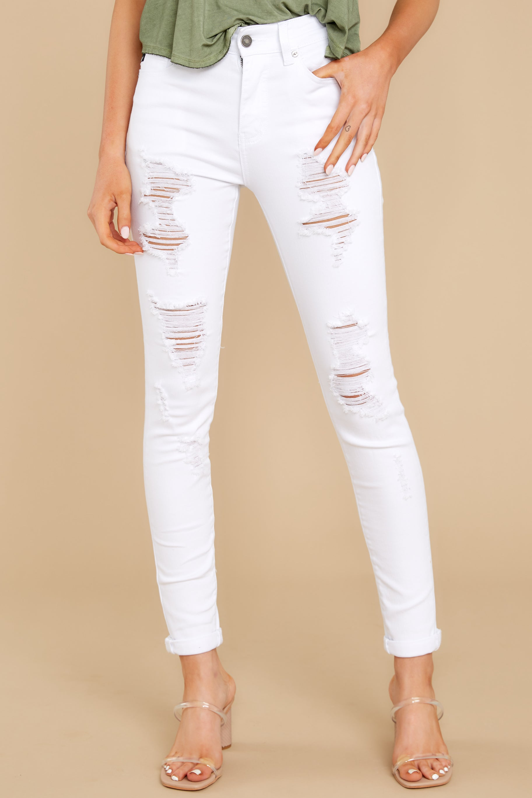2 Told You White Distressed Skinny Jeans at reddress.com