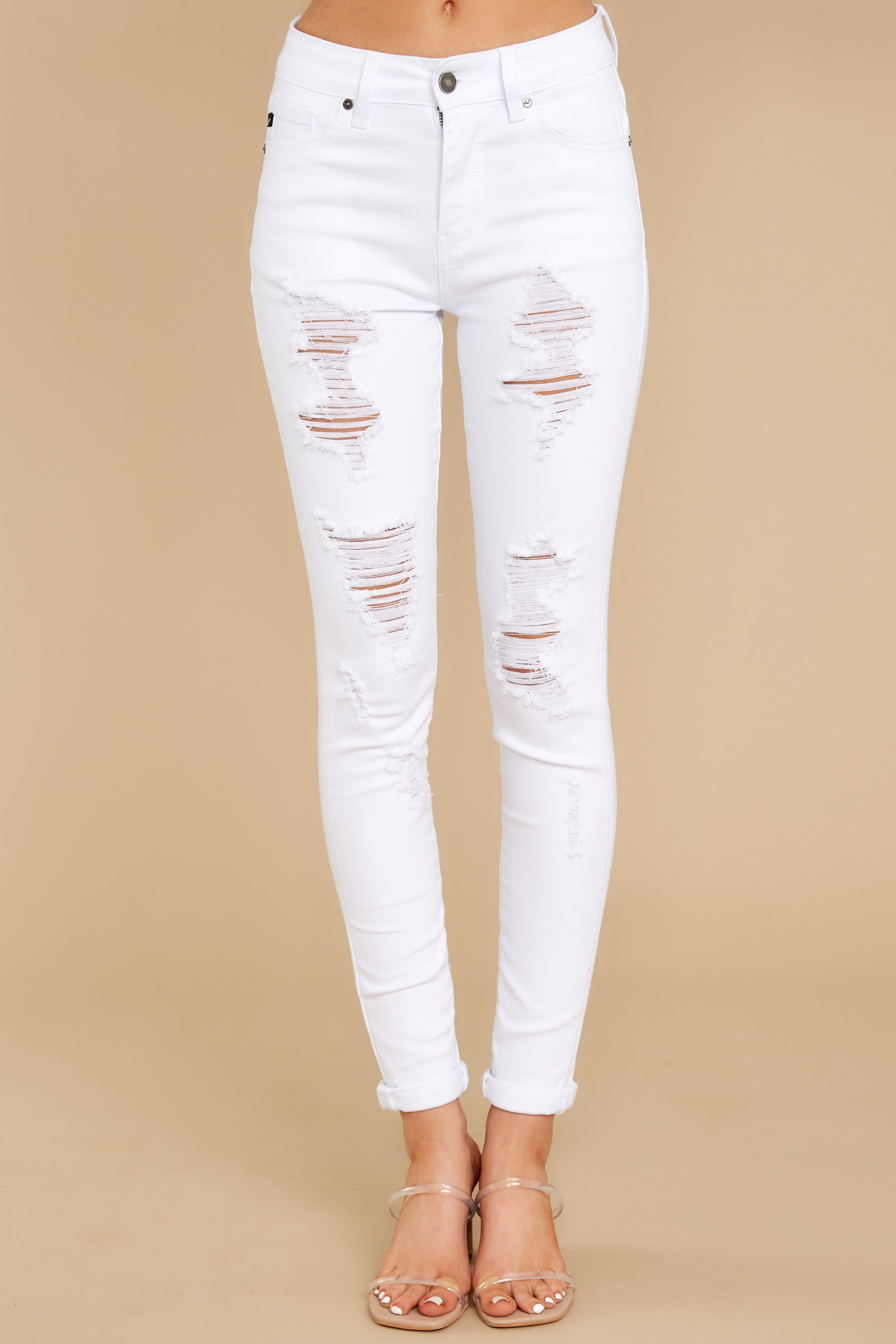 4 Told You White Distressed Skinny Jeans at reddress.com