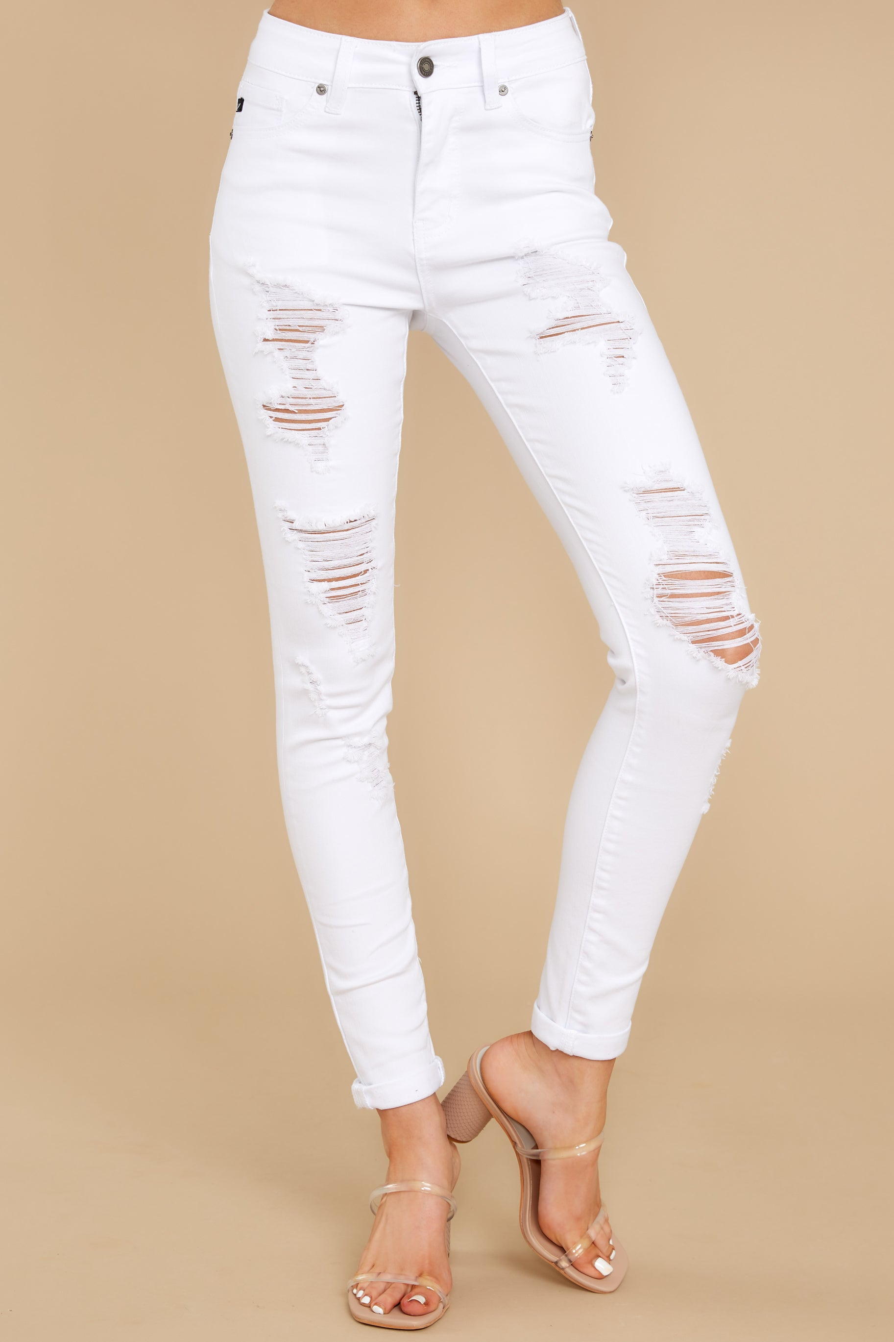 3 Told You White Distressed Skinny Jeans at reddress.com