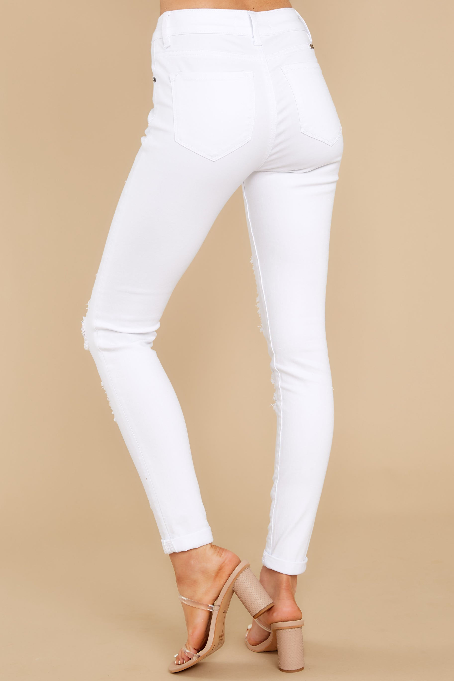 5 Told You White Distressed Skinny Jeans at reddress.com