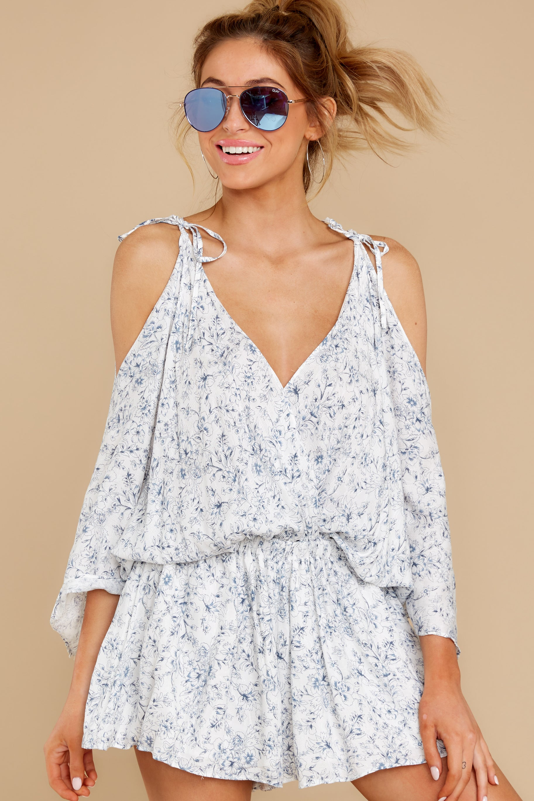1 Dance To This White Print Romper at reddress.com
