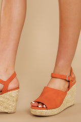 Walking On Sunshine Tangerine Orange Platform Wedges