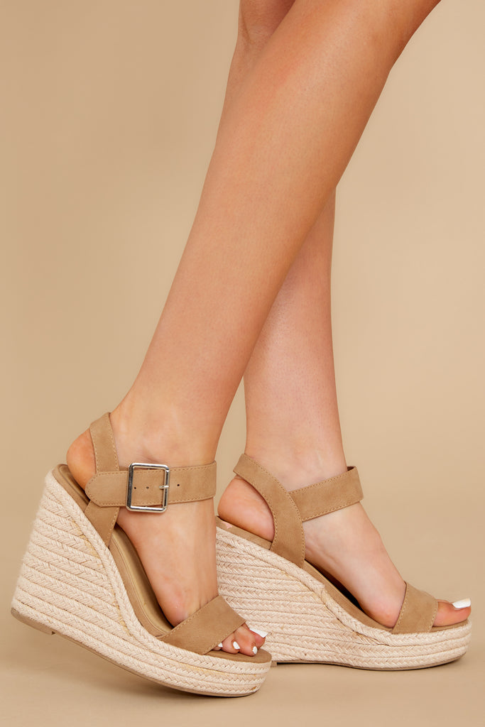 1 Teetering In The Unknown Beige Platform Wedges at reddress.com
