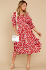 2 Make It Graceful Red Floral Print Dress at reddress.com