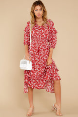 3 Make It Graceful Red Floral Print Dress at reddress.com