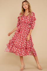 1 Make It Graceful Red Floral Print Dress at reddress.com