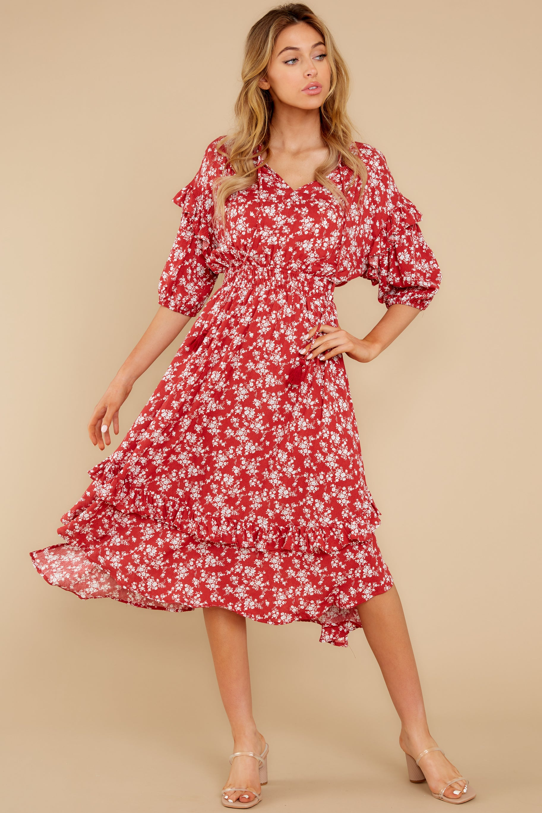 4 Make It Graceful Red Floral Print Dress at reddress.com