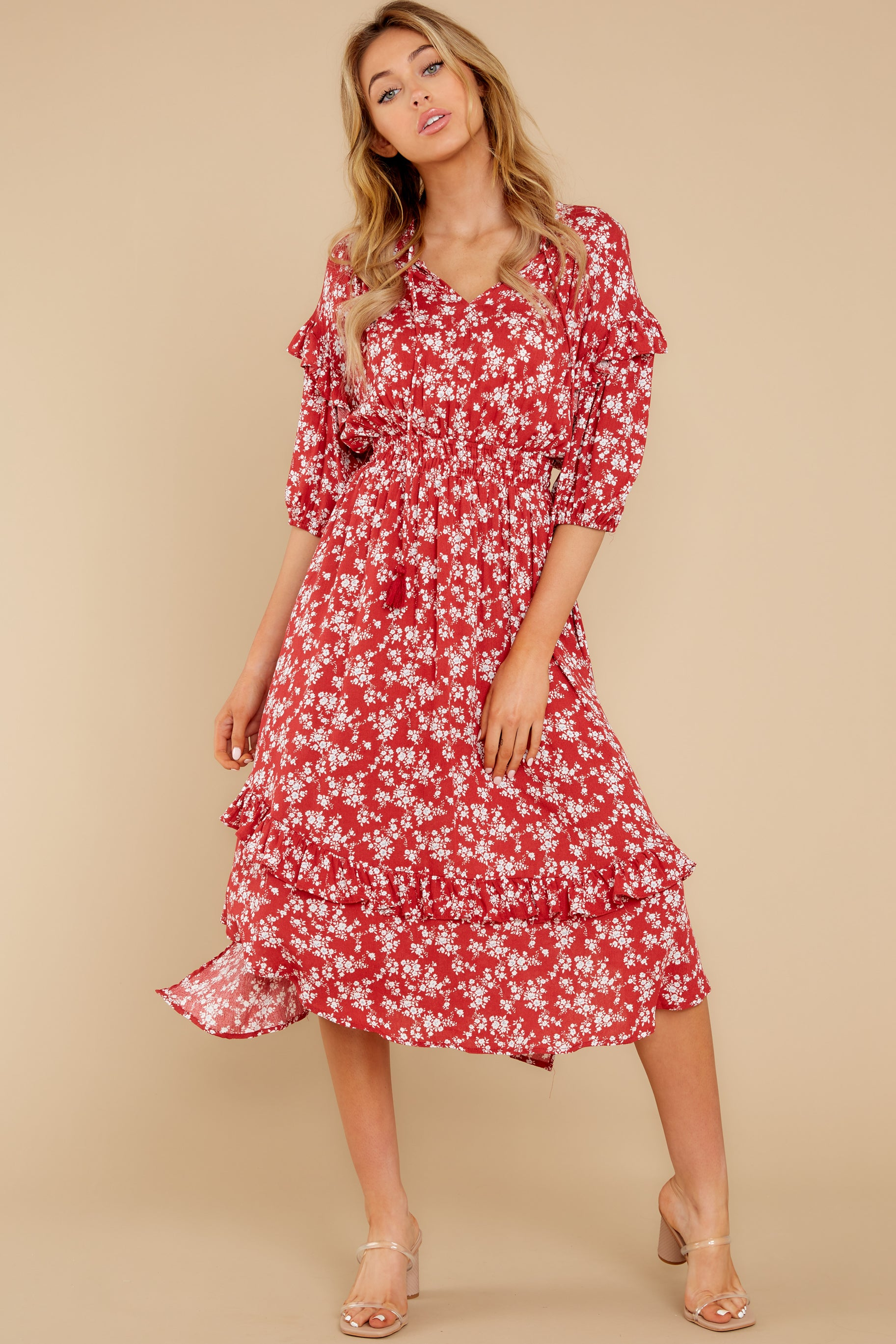 5 Make It Graceful Red Floral Print Dress at reddress.com