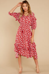 6 Make It Graceful Red Floral Print Dress at reddress.com
