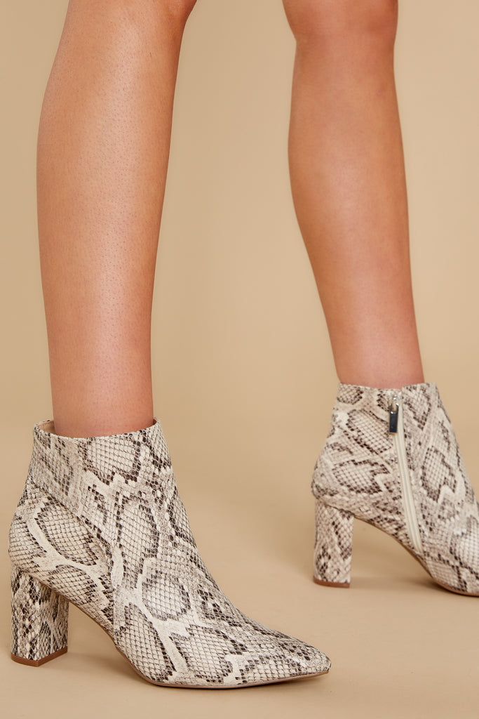 1 Balance The Scales Taupe Snakeskin Ankle Boots at reddress.com