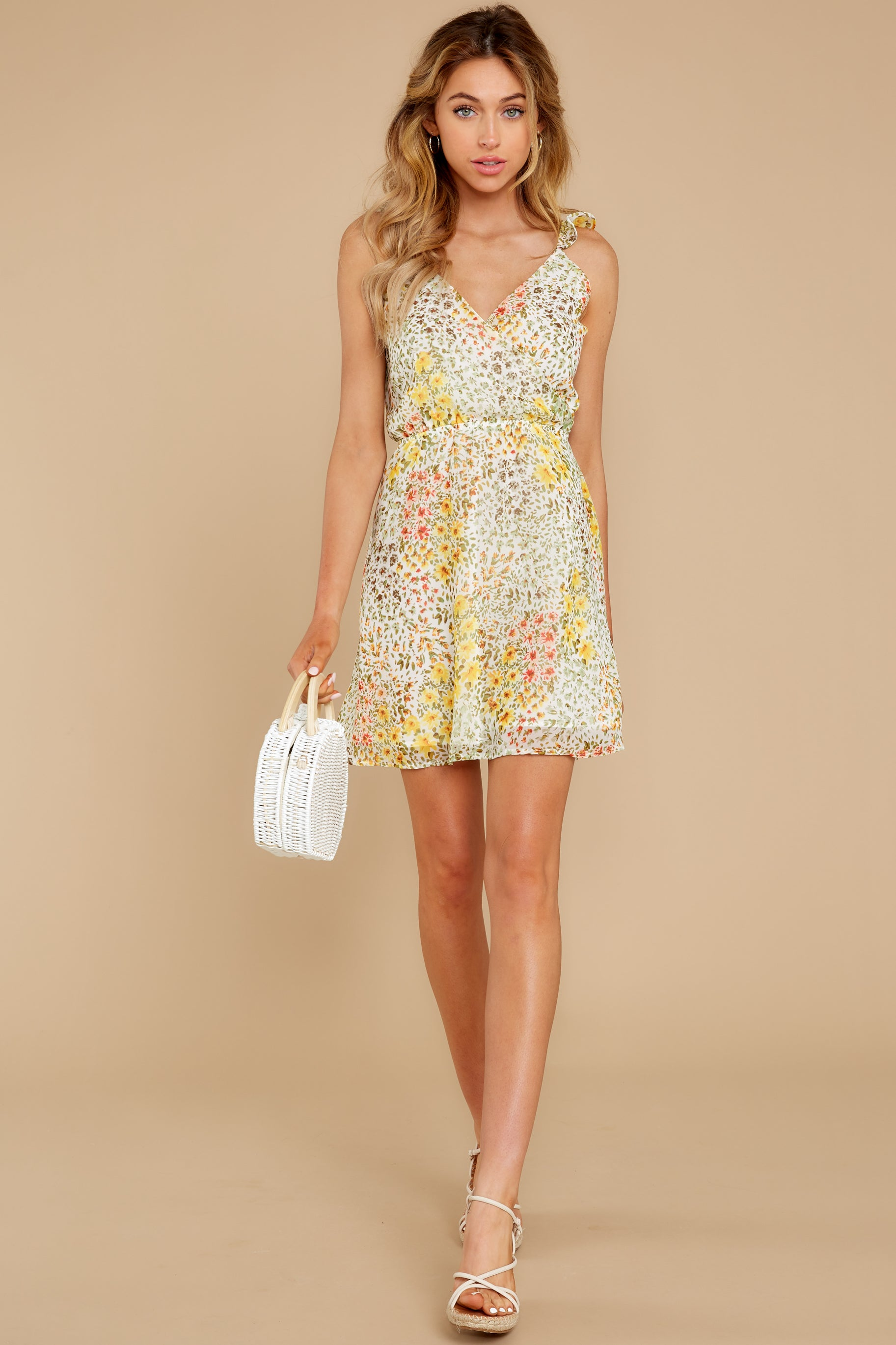 4 Sunny Meadows Green Floral Print Dress at reddress.com