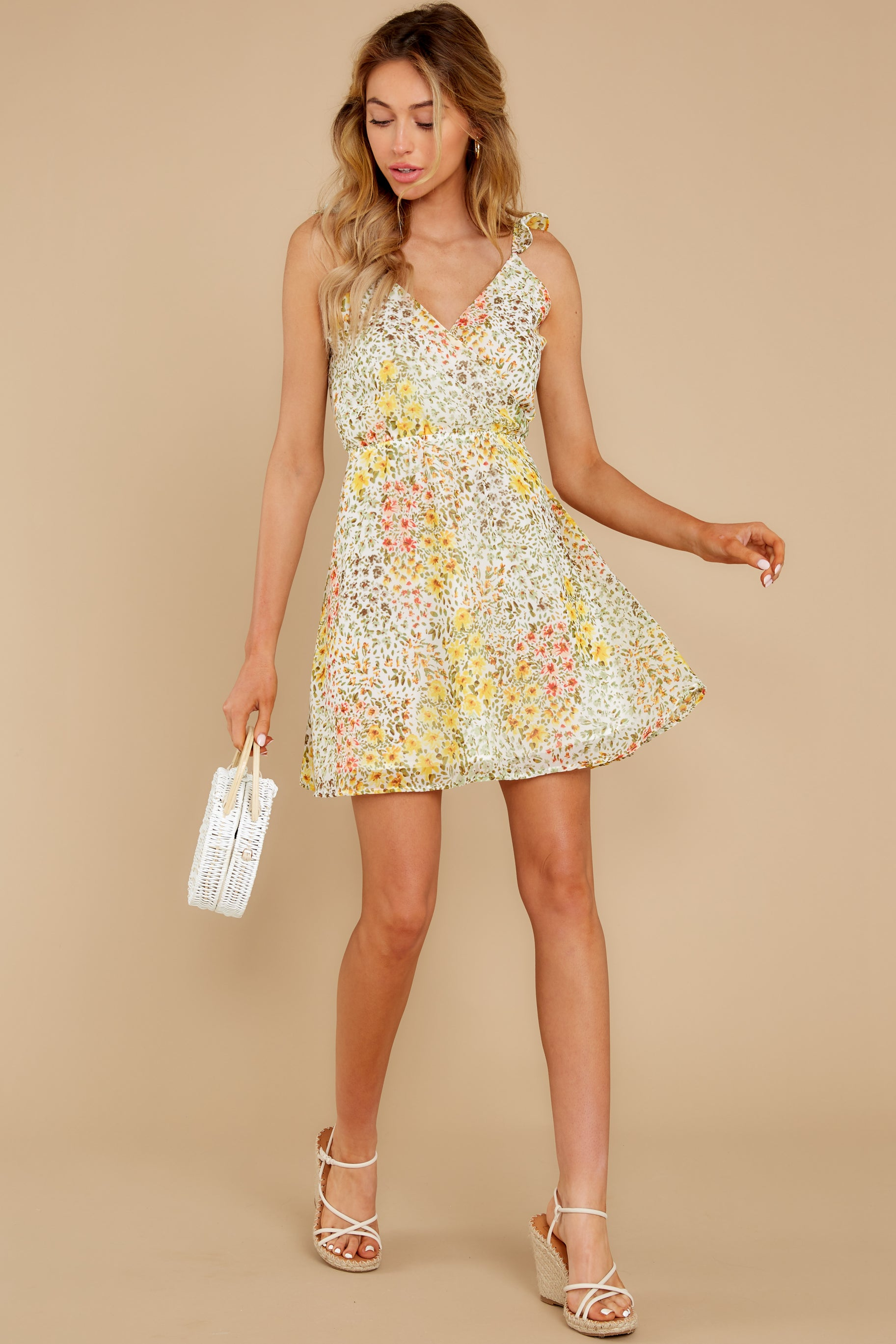 3 Sunny Meadows Green Floral Print Dress at reddress.com