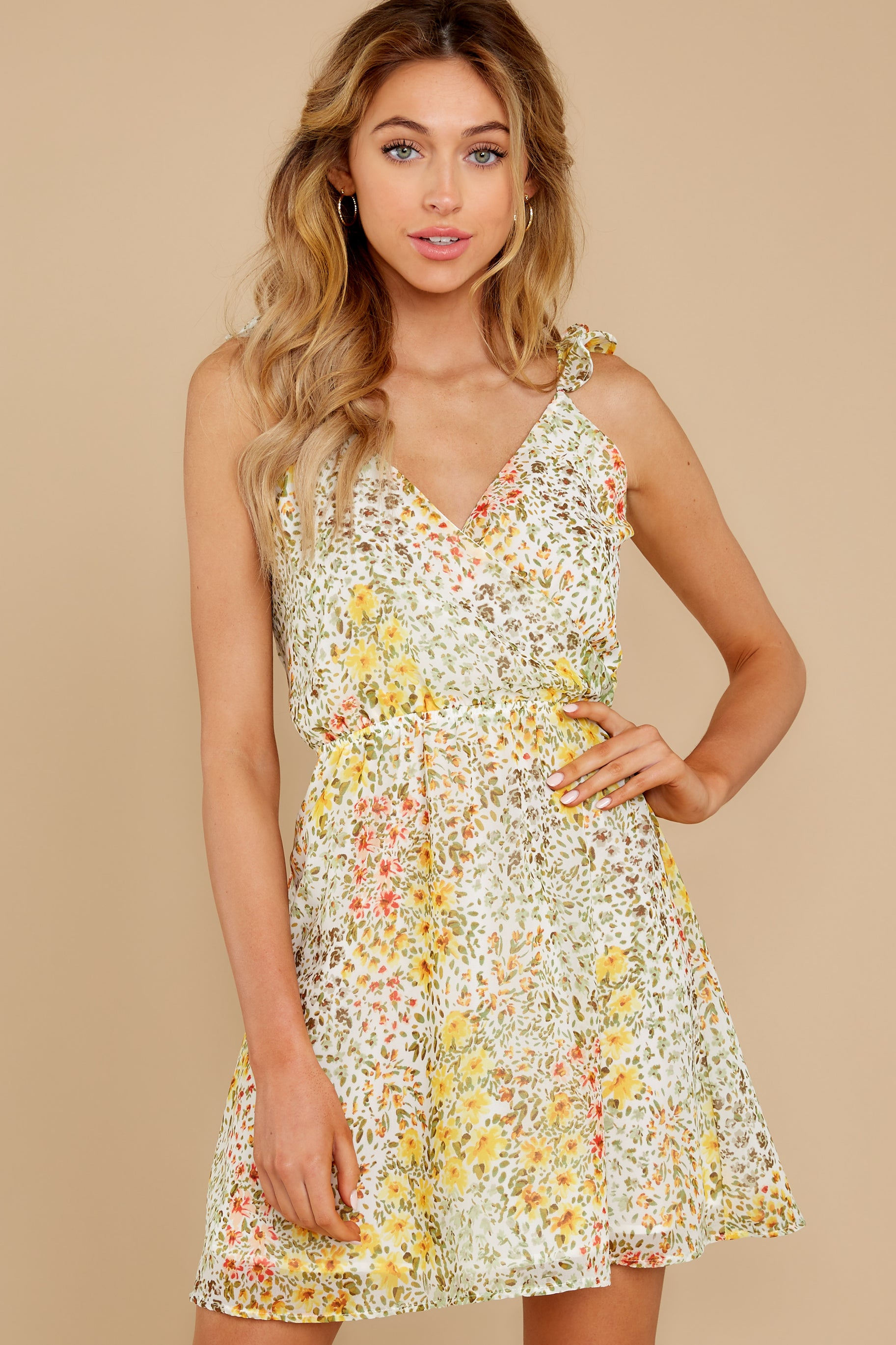 1 Sunny Meadows Green Floral Print Dress at reddress.com