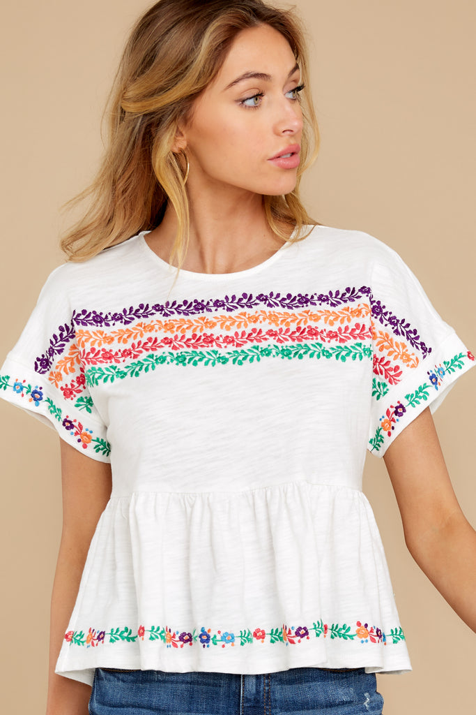 1 Cancun Is Calling White Multi Embroidered Tee at reddress.com