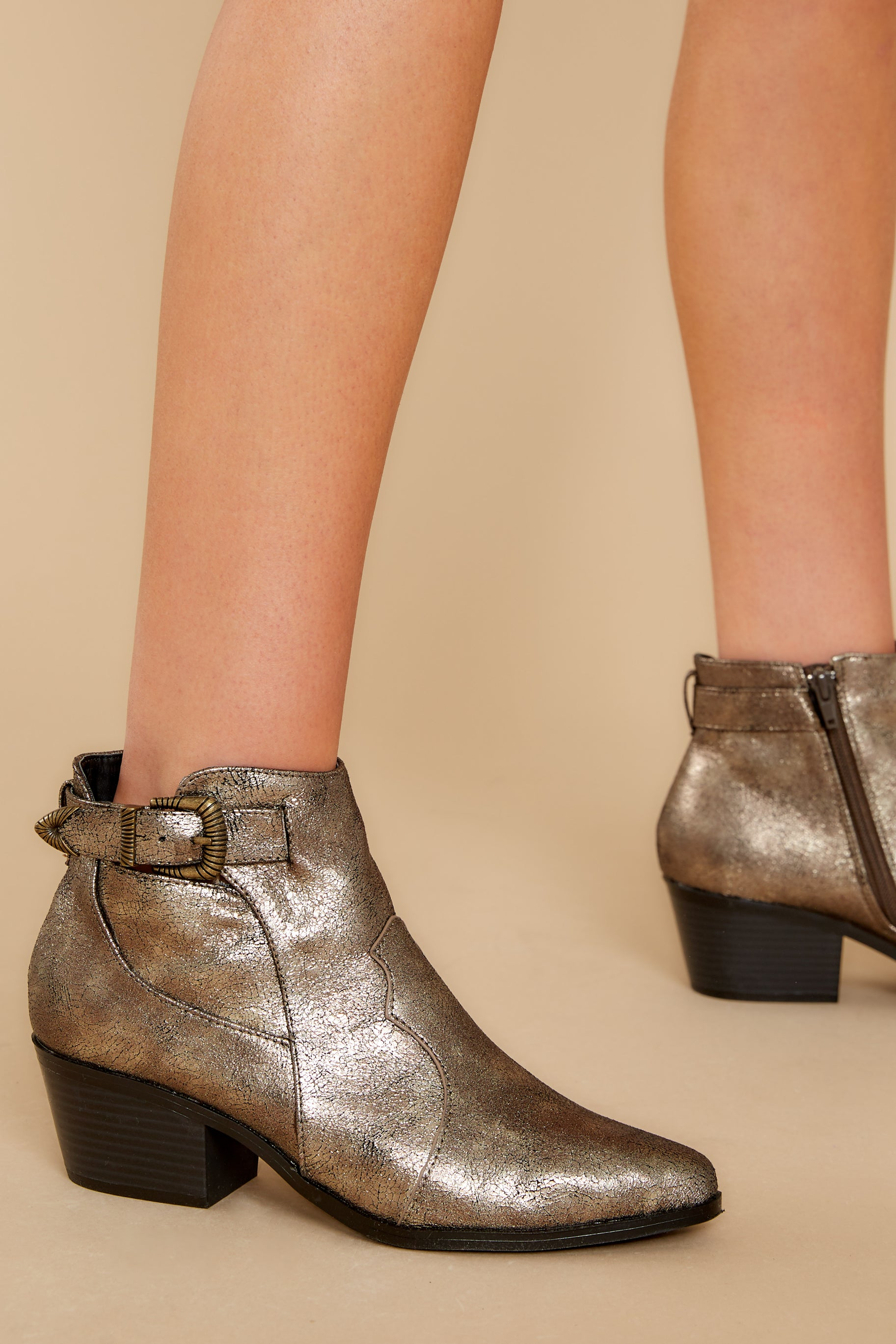 2 Ready To Roam Gold And Black Ankle Booties @ reddress.com