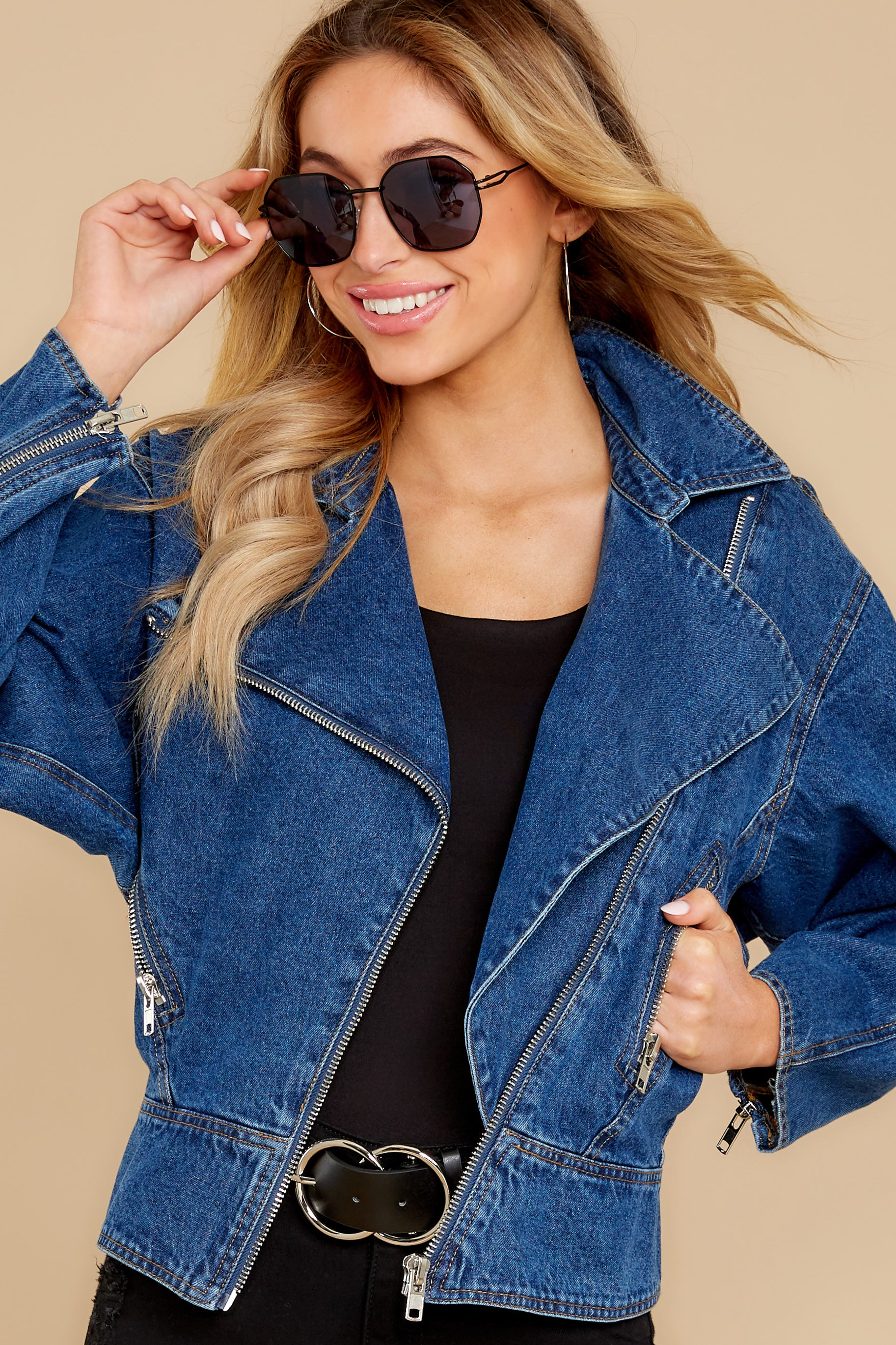 80s Windbreakers, Jackets, Coats Saturday Night Thrive Dark Wash Denim Jacket Blue $48.00 AT vintagedancer.com