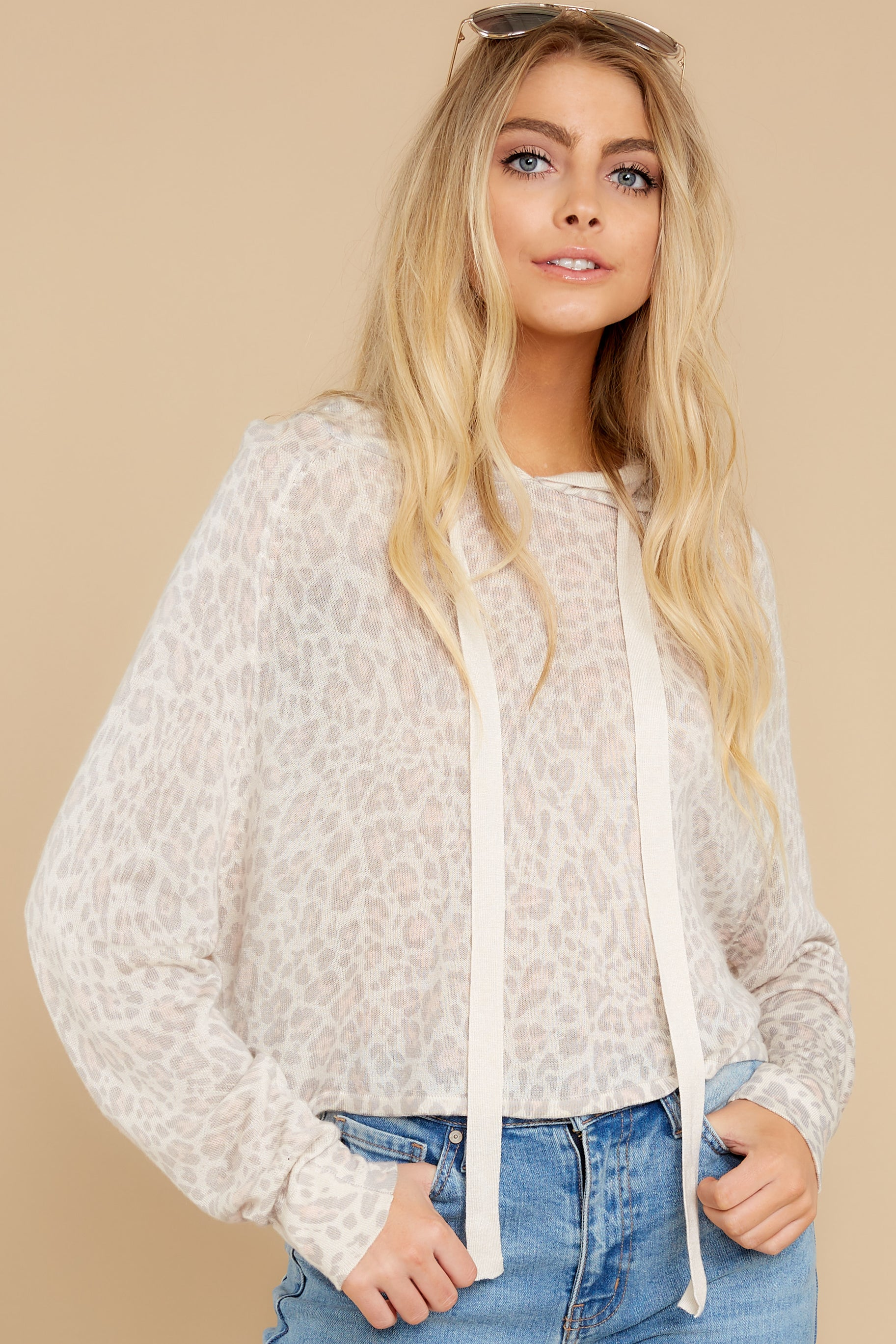 5 Make It Through Blush Leopard Print Crop Hoodie at reddress.com